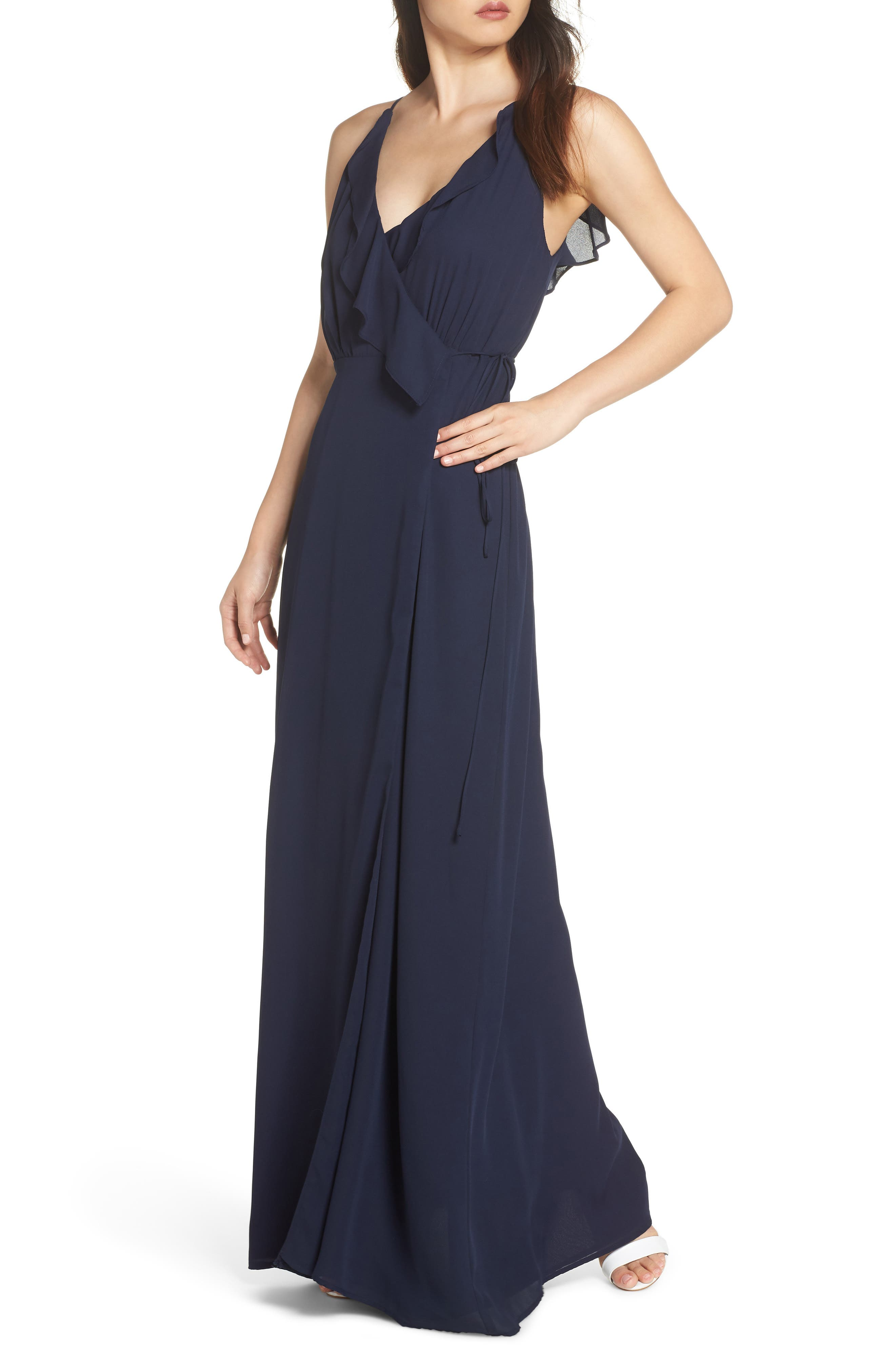 Jamie Ruffle Wrap Gown,                         Main,                         color, NAVY