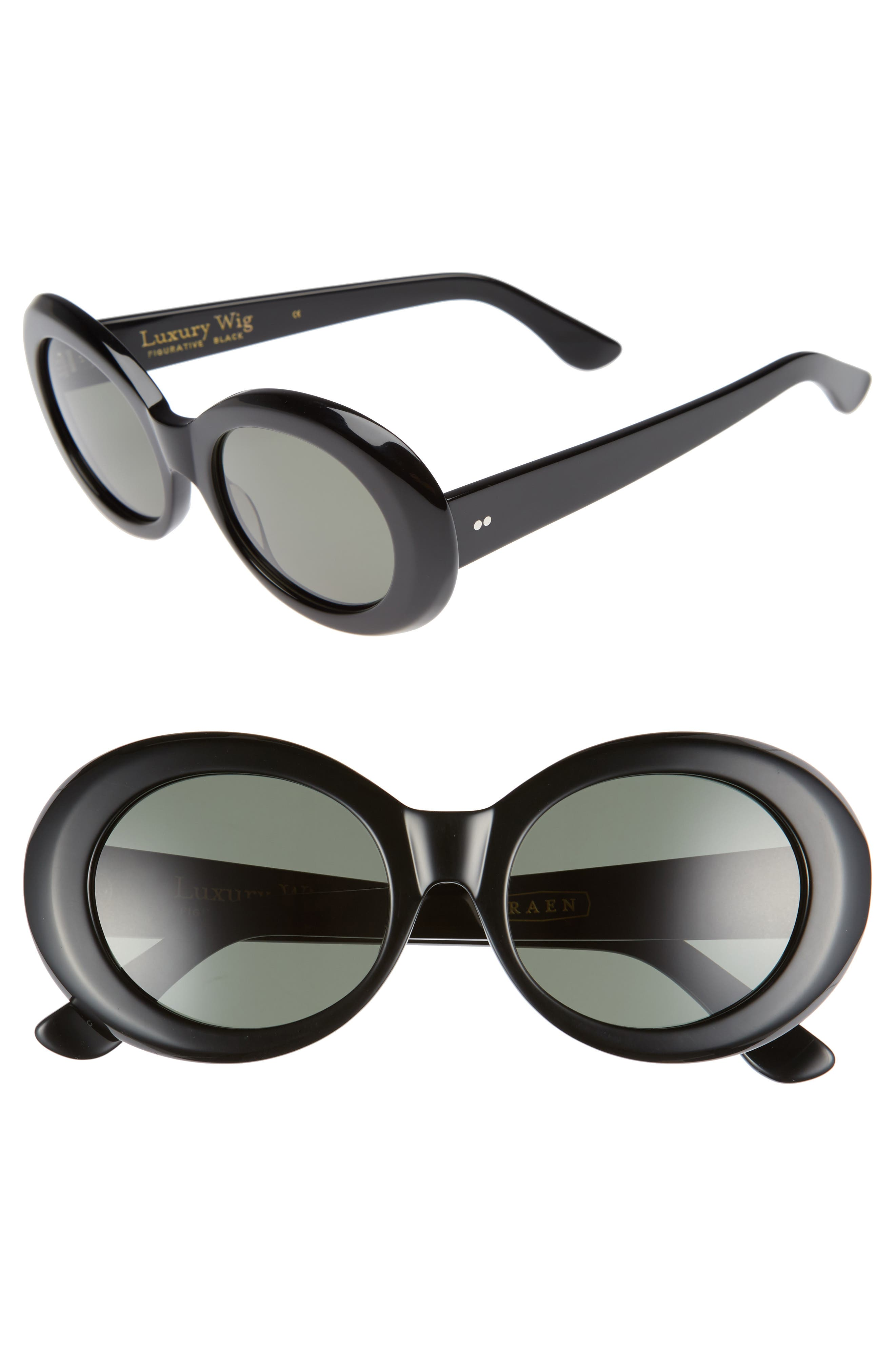x Alex Knost Luxury Wig Figurative 53mm Sunglasses,                         Main,                         color, 001