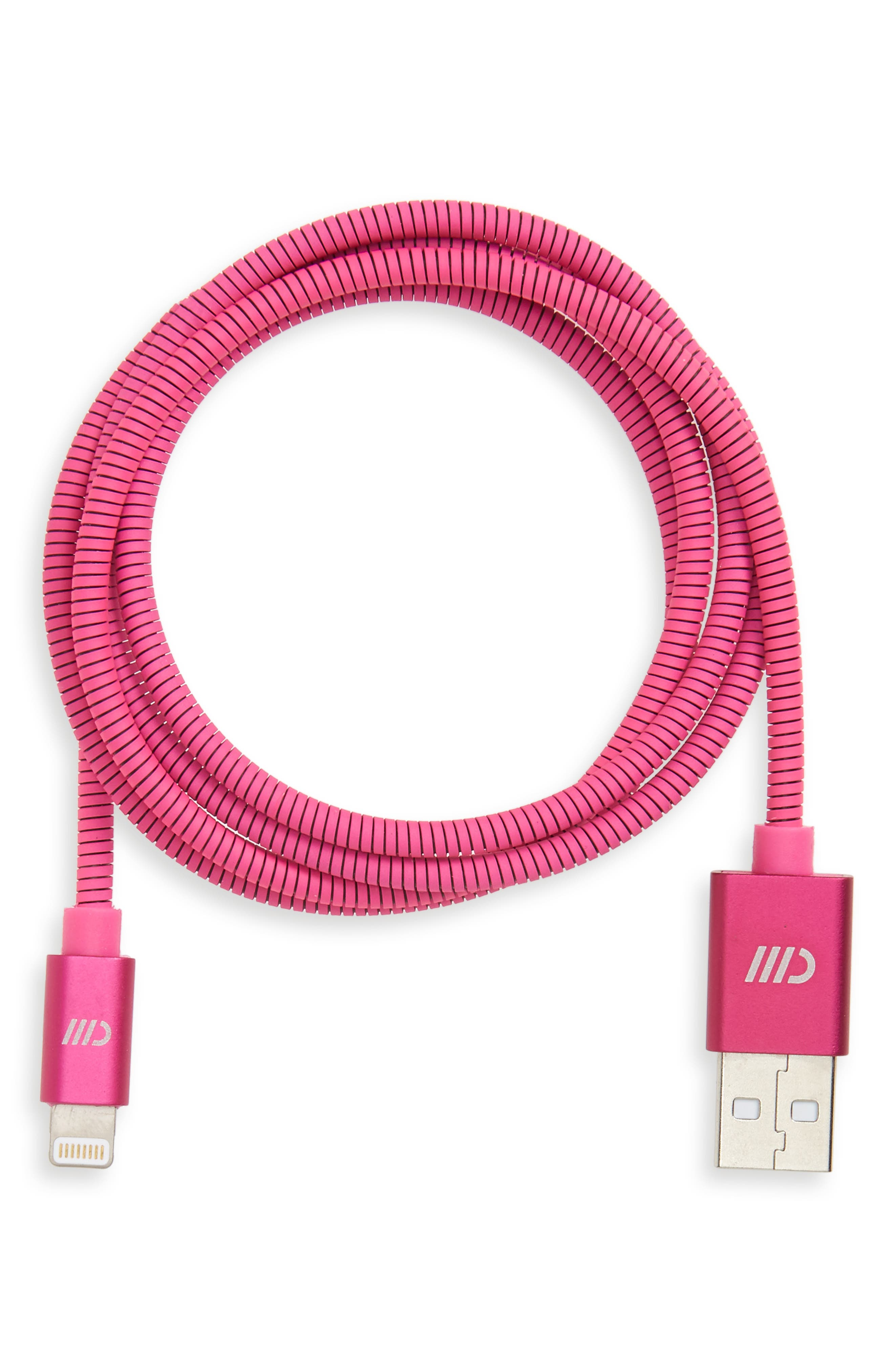 3 Foot Stainless Steel Charging Cable,                         Main,                         color, MATTE PINK