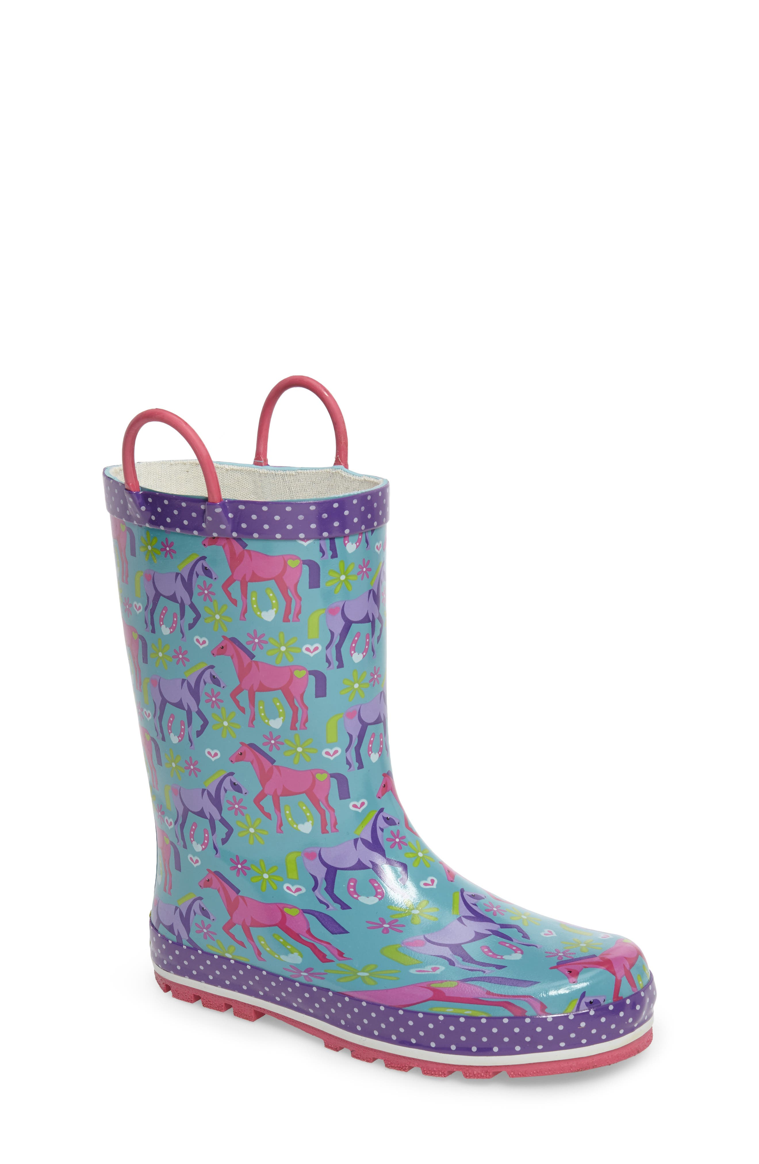 Hannah Horse Rain Boot,                         Main,                         color, 442