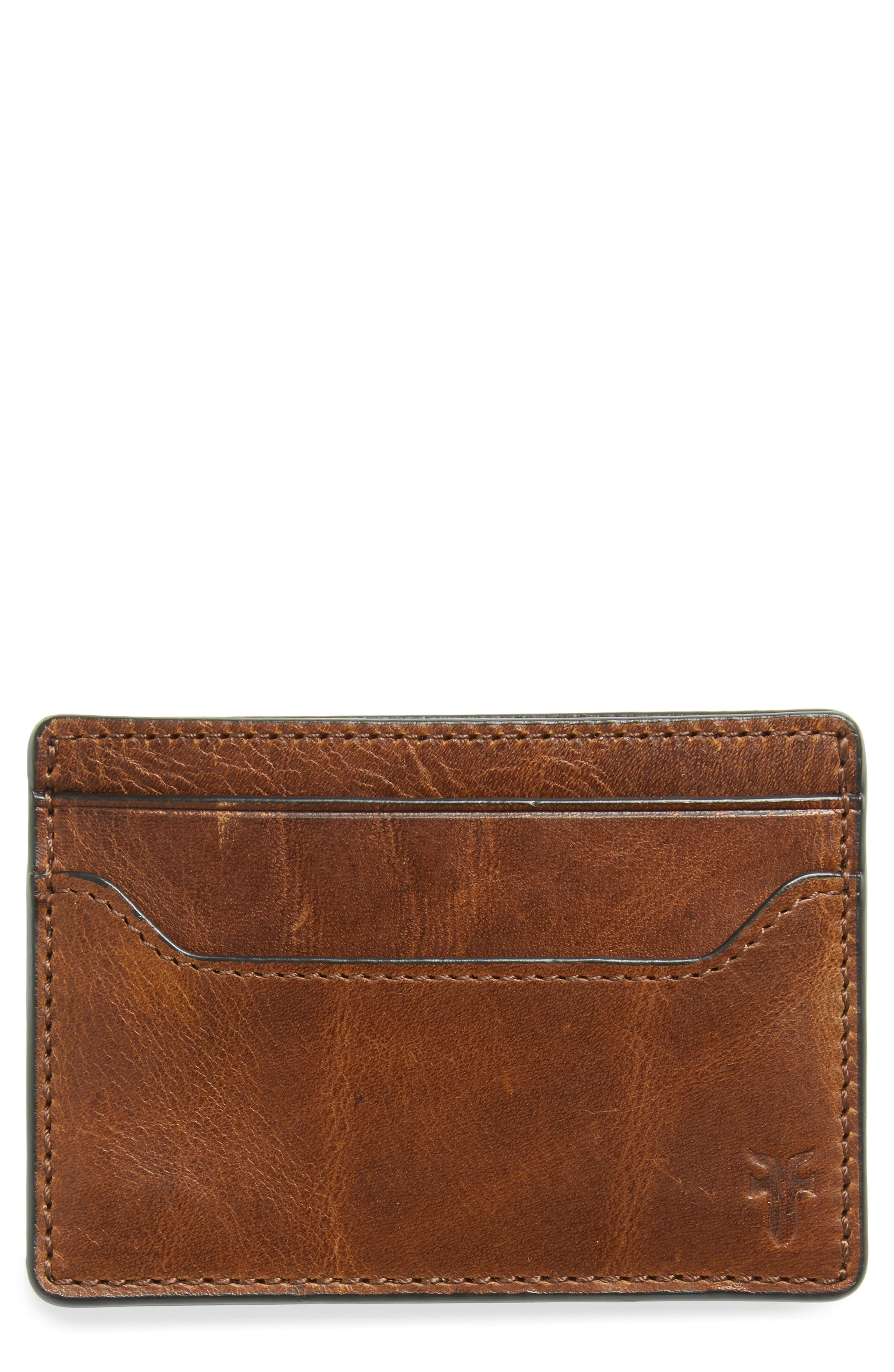 Logan Leather Money Clip Card Case,                             Main thumbnail 1, color,                             DARK BROWN
