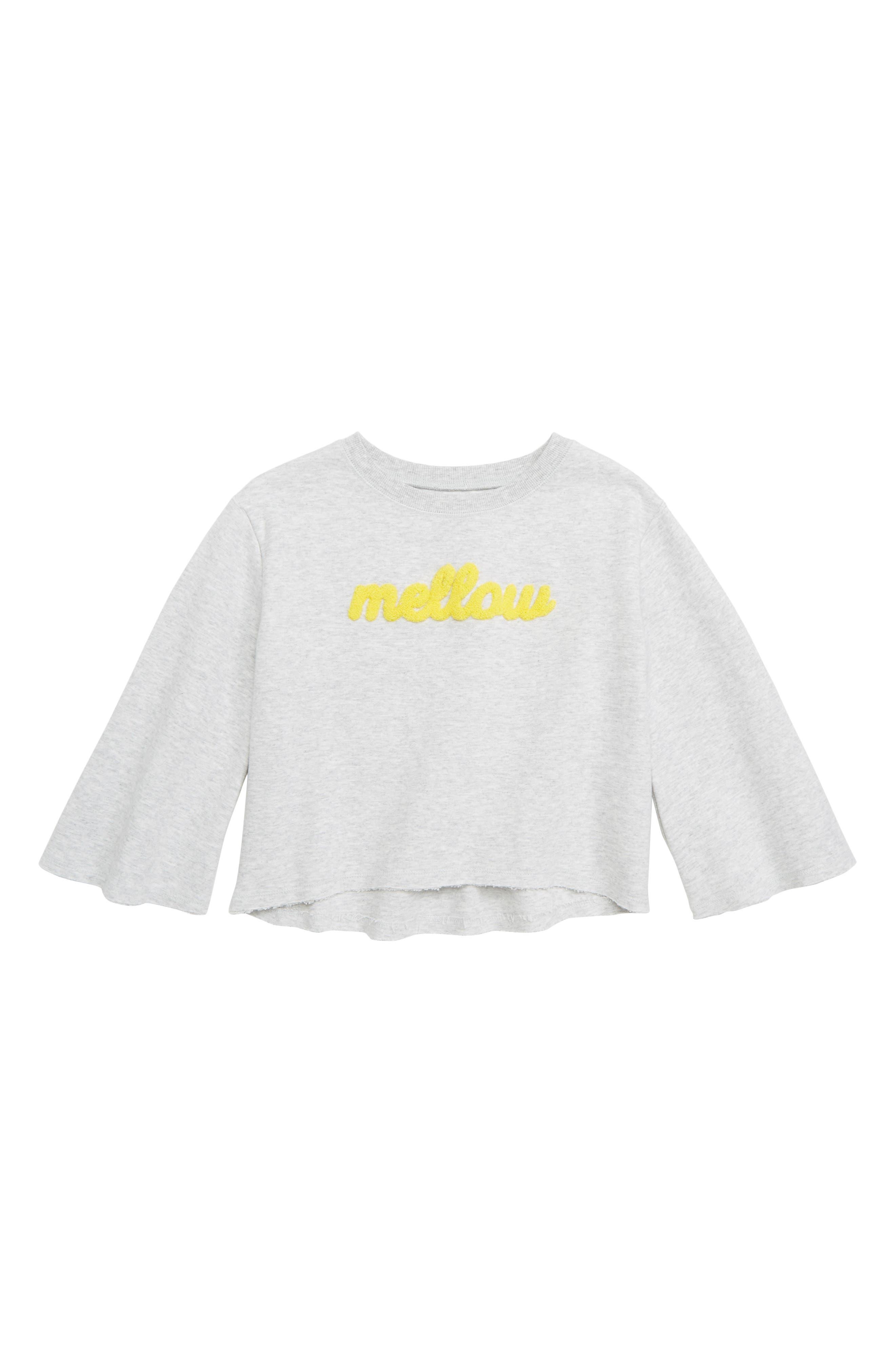 Flare Sleeve Sweatshirt,                         Main,                         color, GREY ASH HEATHER MELLOW