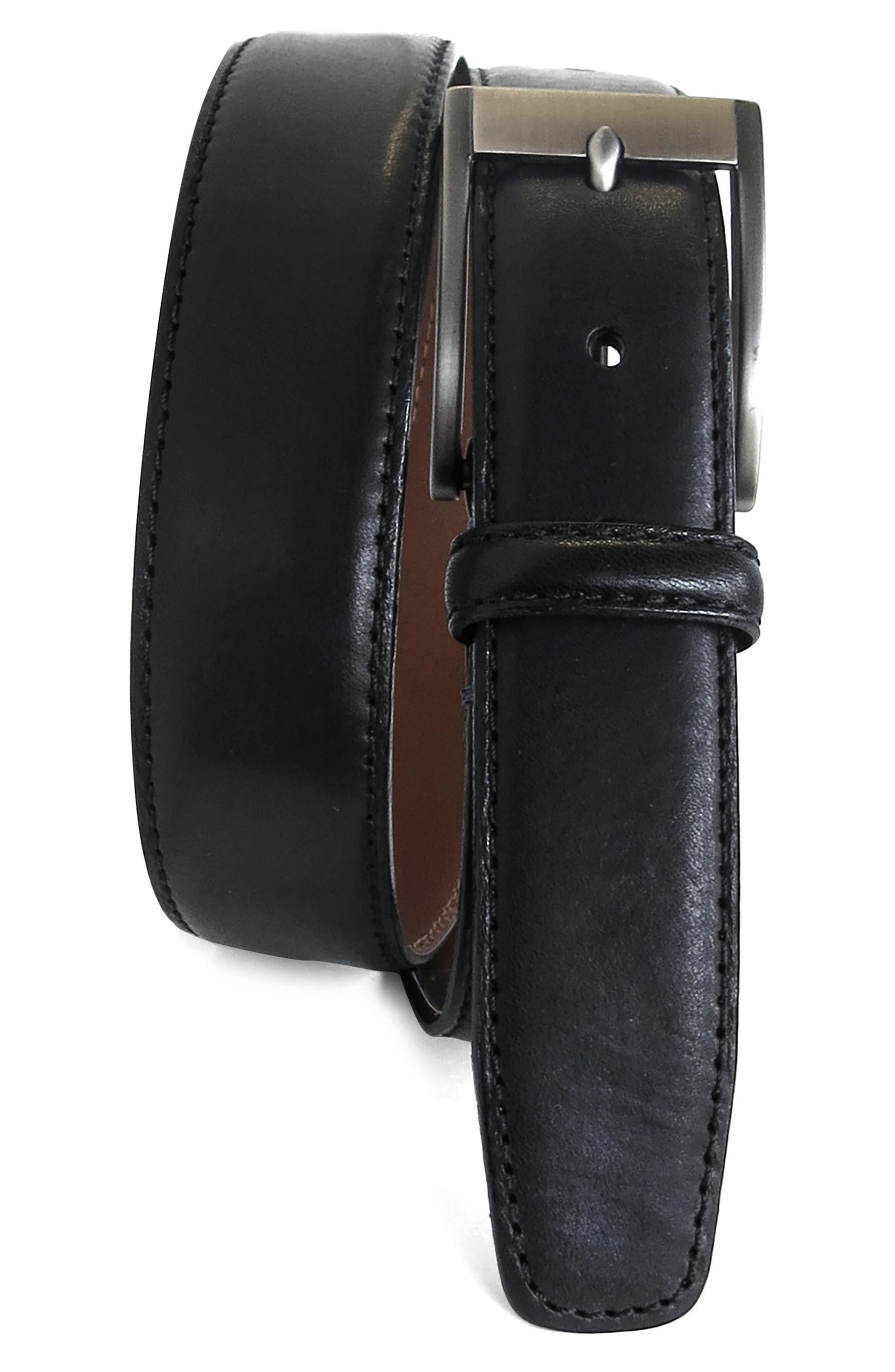 Collins Leather Belt,                         Main,                         color, BLACK
