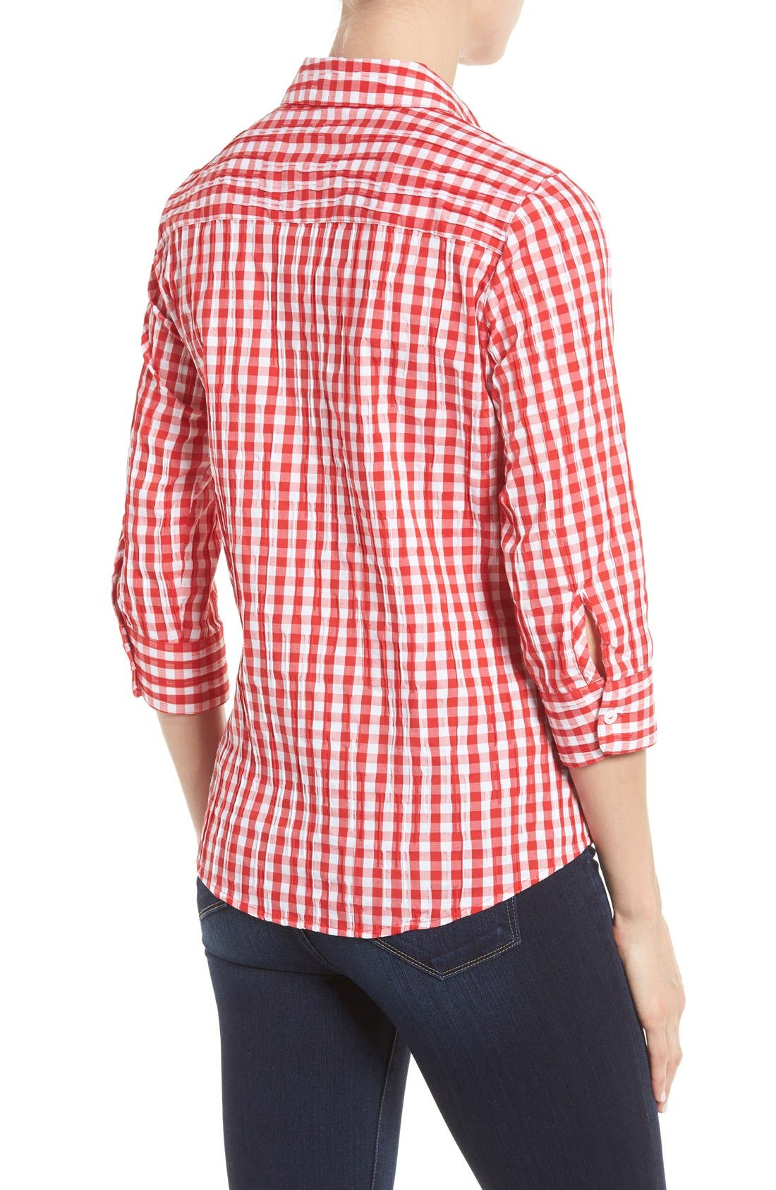 Crinkled Gingham Shirt,                             Alternate thumbnail 16, color,
