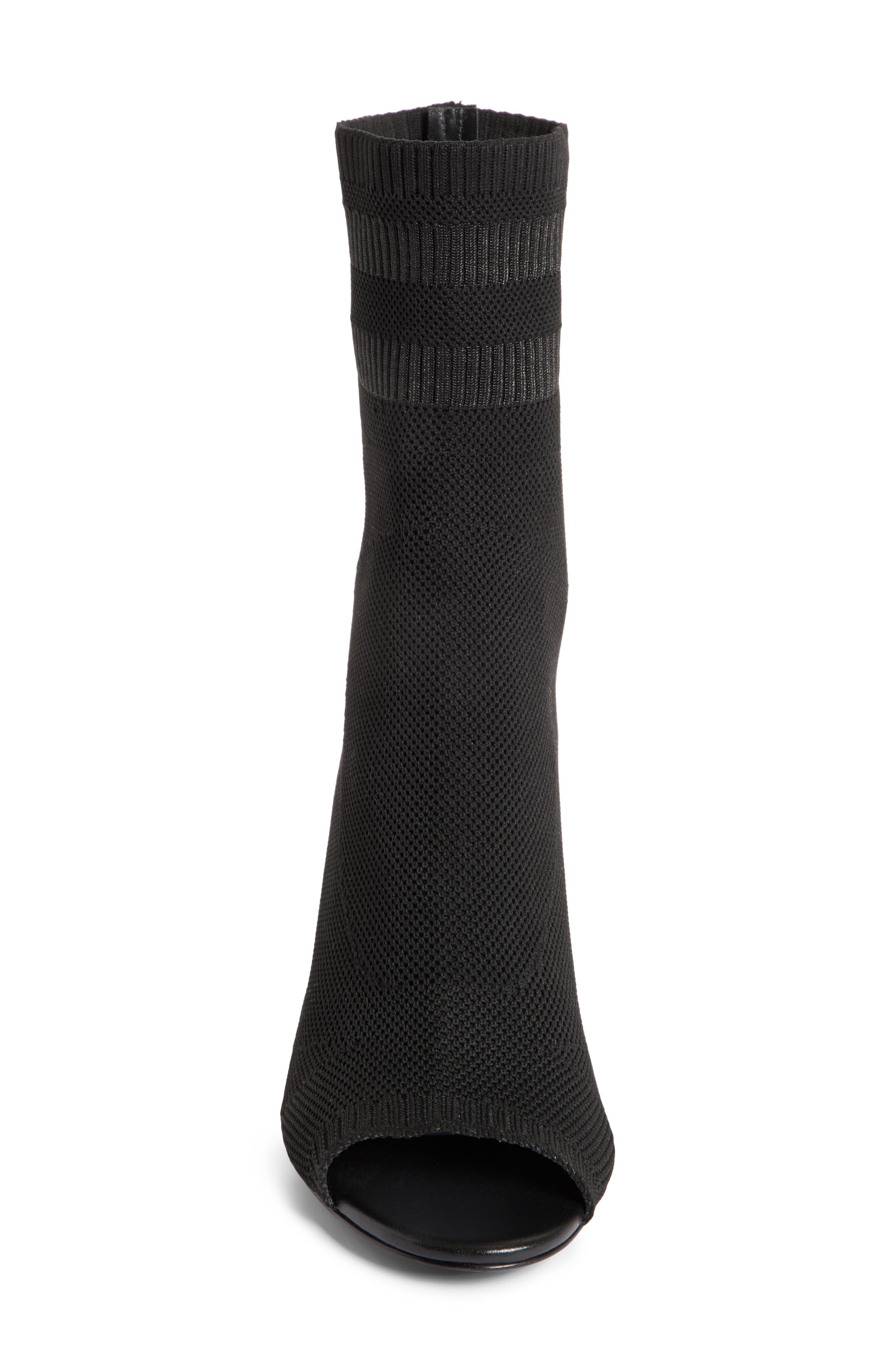 Cat Knit Sock Boot,                             Alternate thumbnail 4, color,                             BLACK