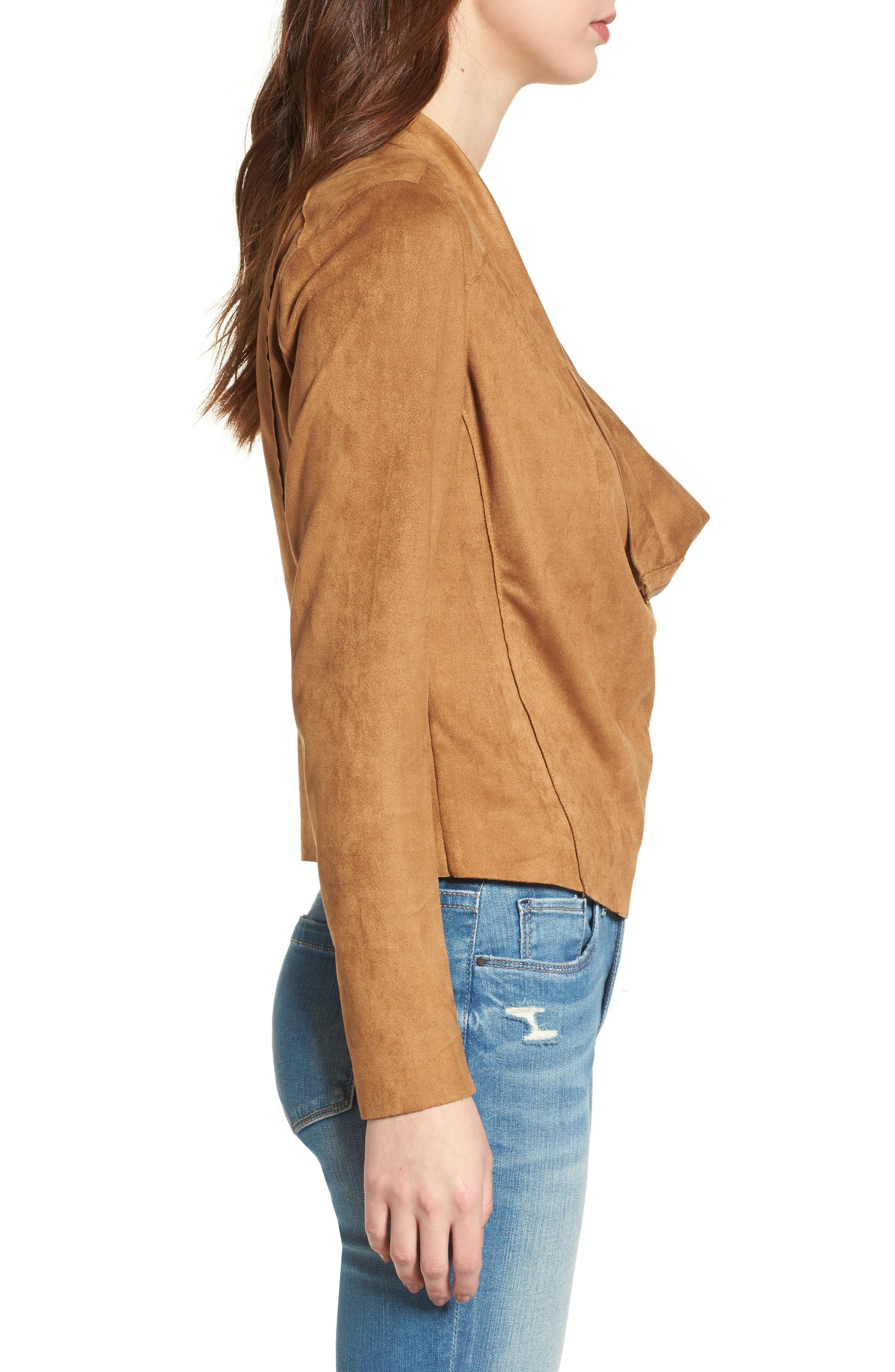 BLANKNYC,                             Drape Front Faux Suede Jacket,                             Alternate thumbnail 3, color,                             CAMEL BACK BROWN