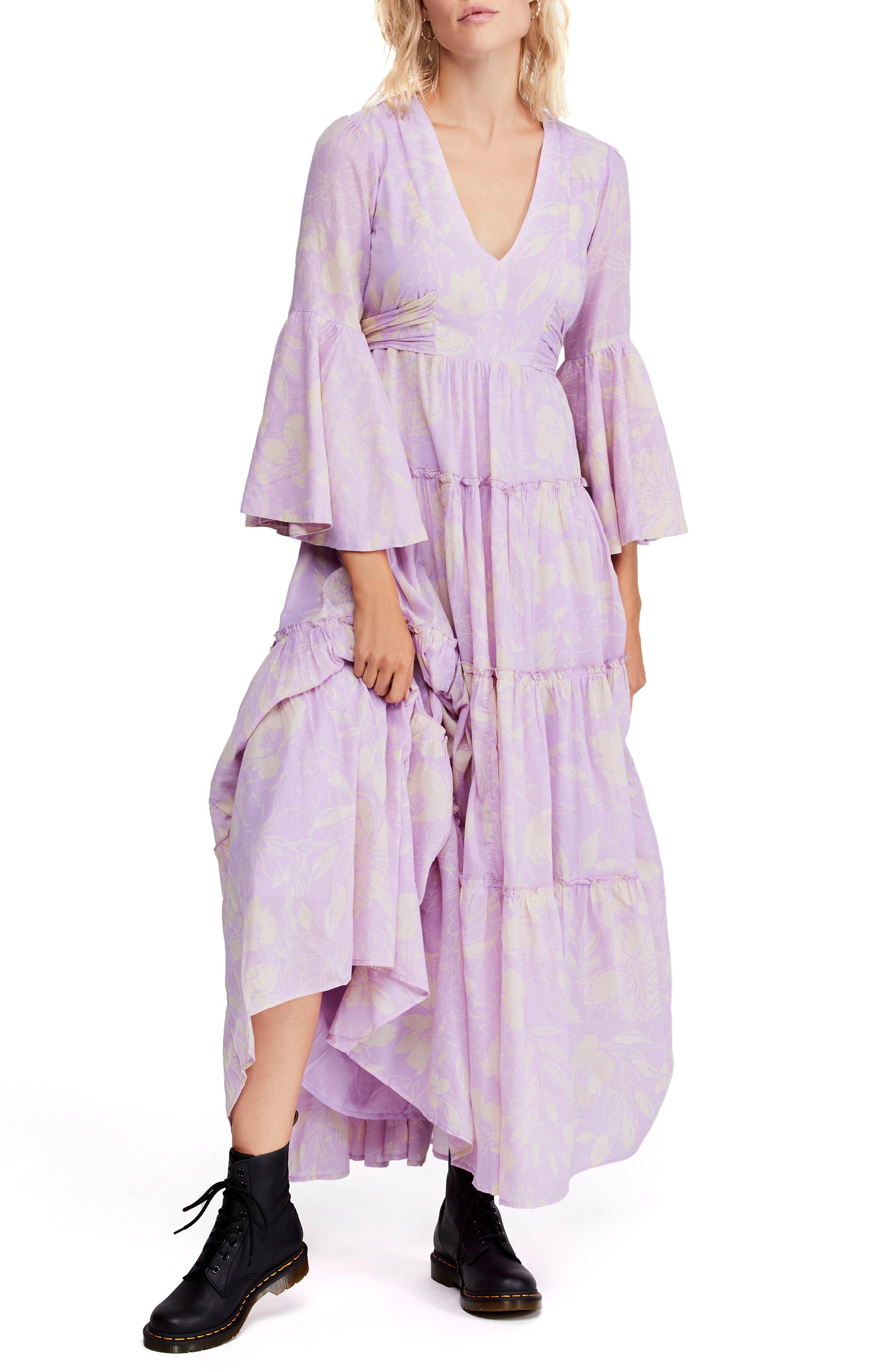 Free People Carmen Tie Back Maxi Dress, Purple
