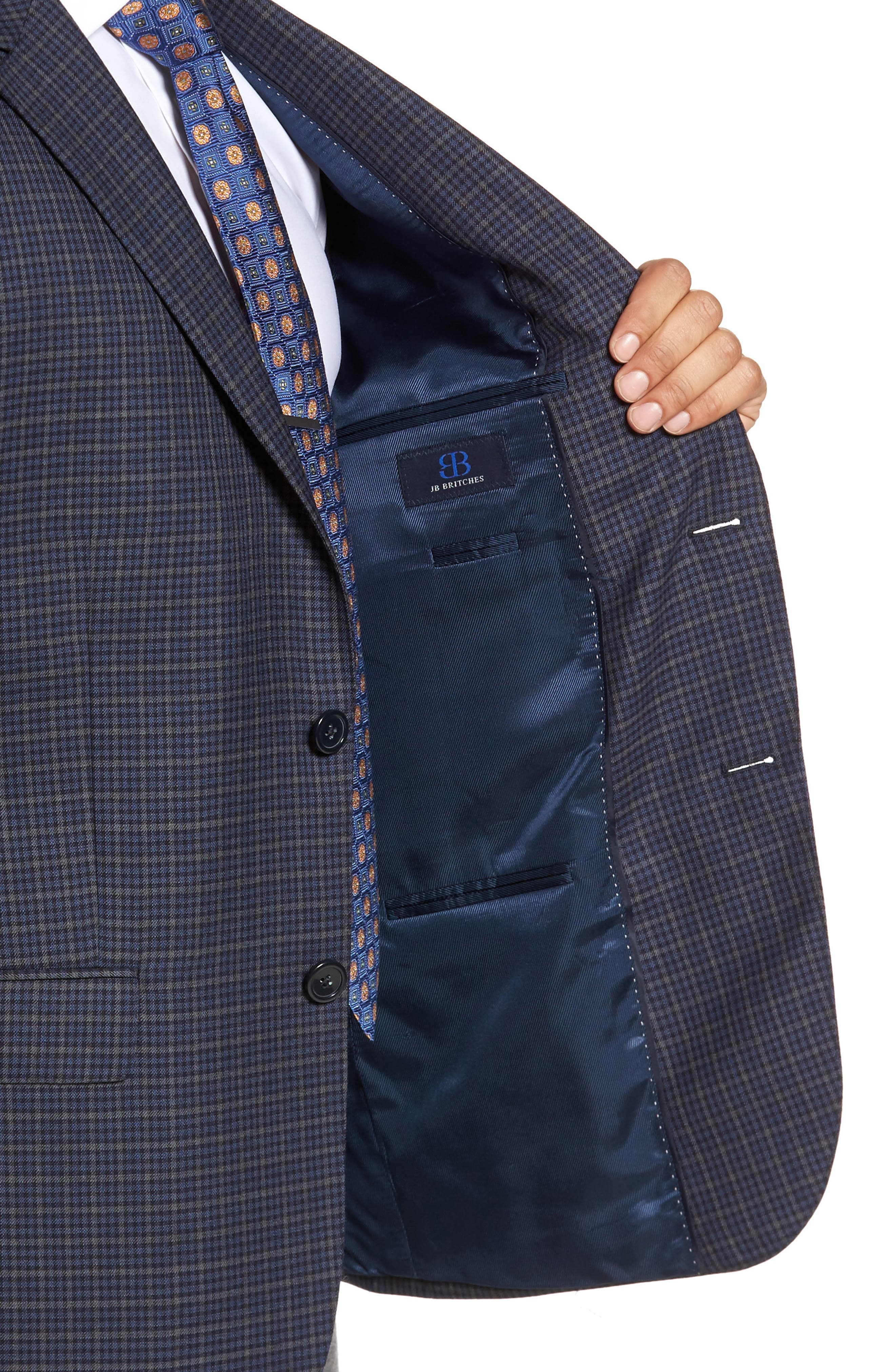 Classic Fit Check Wool Sport Coat,                             Alternate thumbnail 4, color,                             422