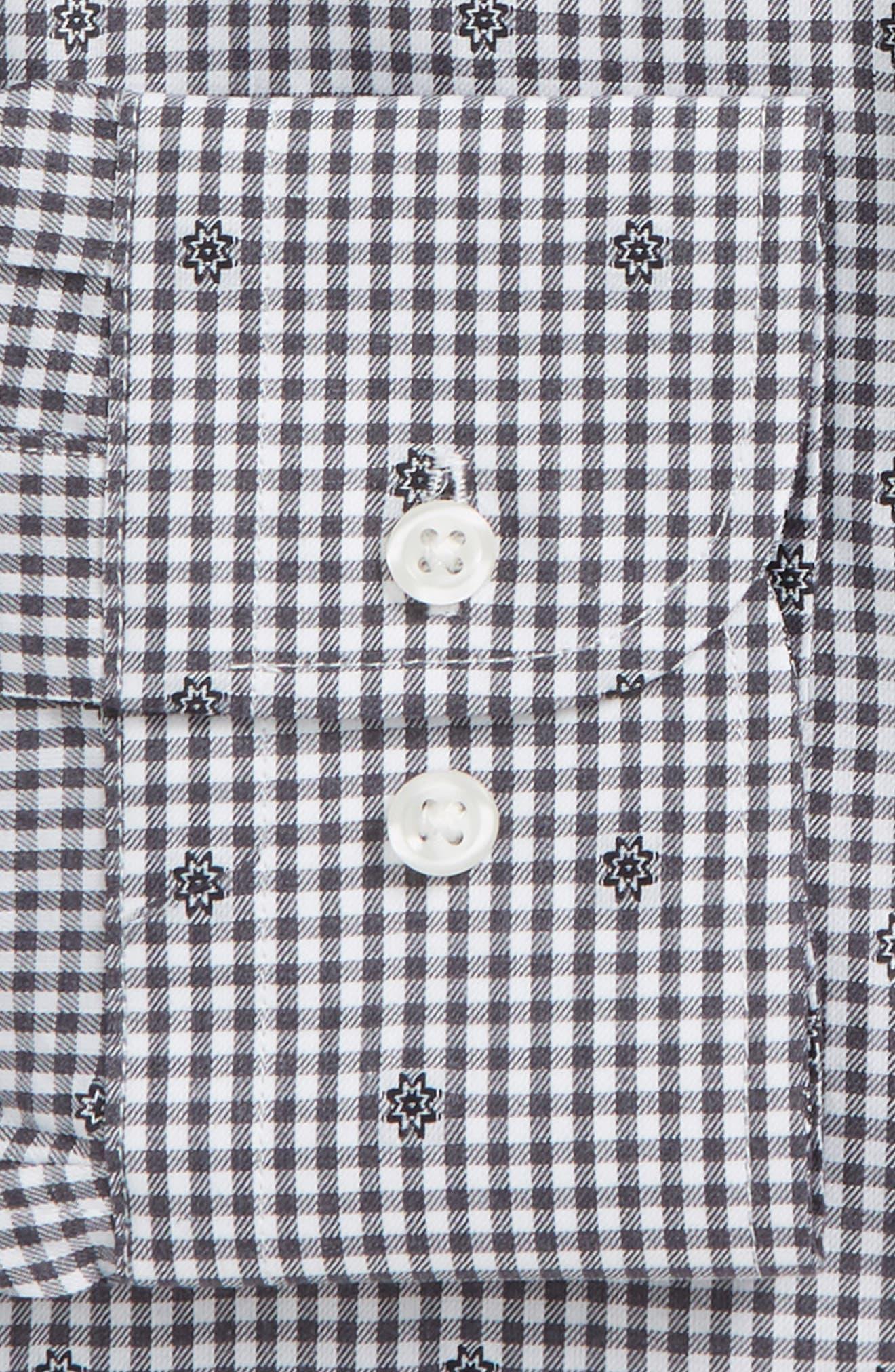 Trim Fit Check Dress Shirt,                             Alternate thumbnail 6, color,