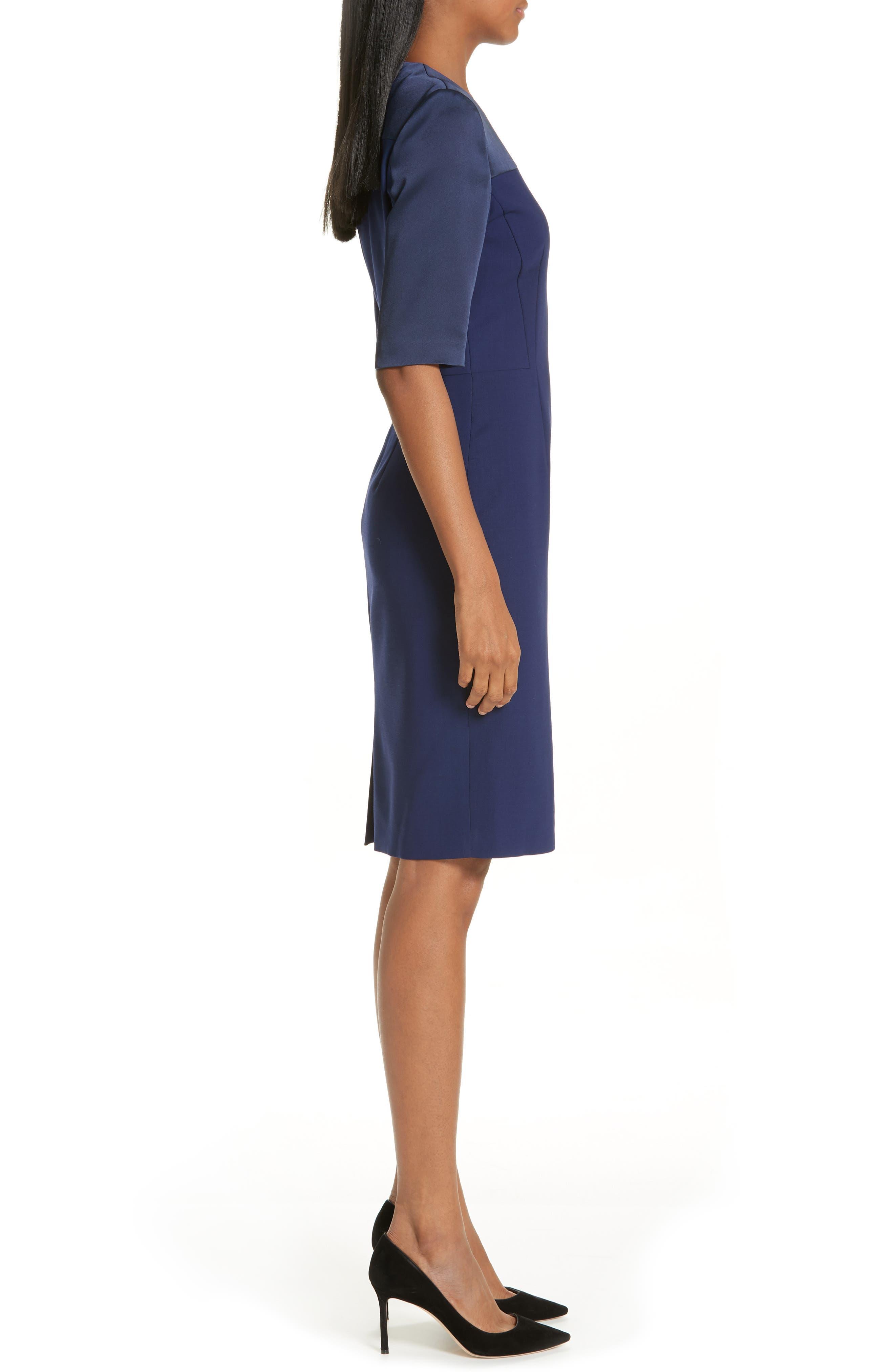 Danufa Stretch Wool Sheath Dress,                             Alternate thumbnail 3, color,                             INK BLUE