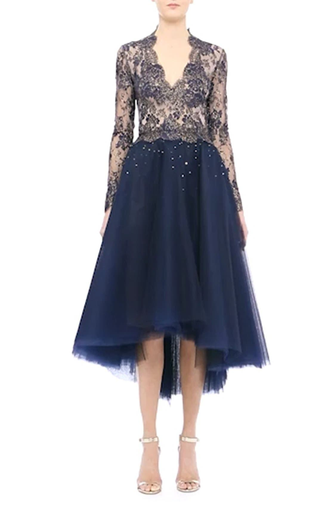 Chantilly Lace & Embellished Tulle High/Low Dress,                             Alternate thumbnail 3, color,                             410