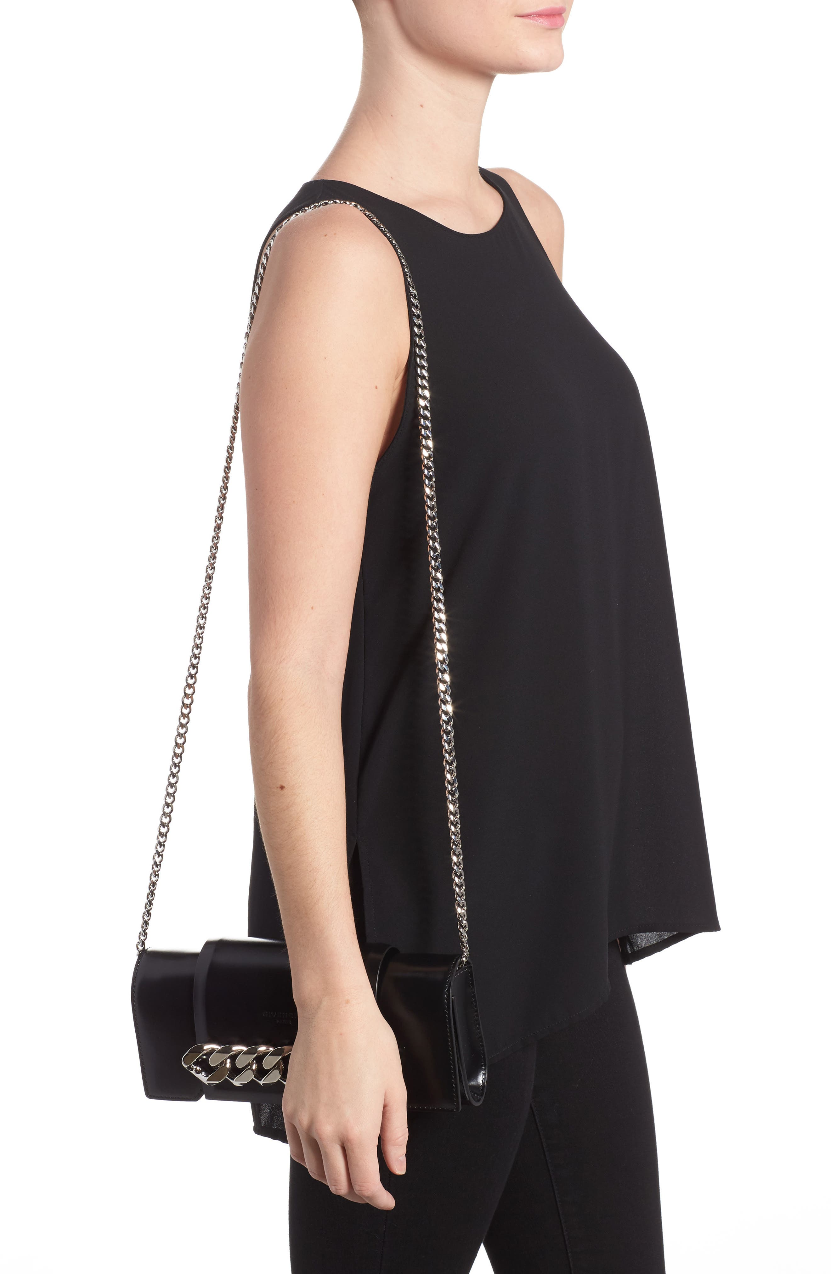 Mini Infinity Calfskin Leather Shoulder/Crossbody Bag,                             Alternate thumbnail 2, color,                             001