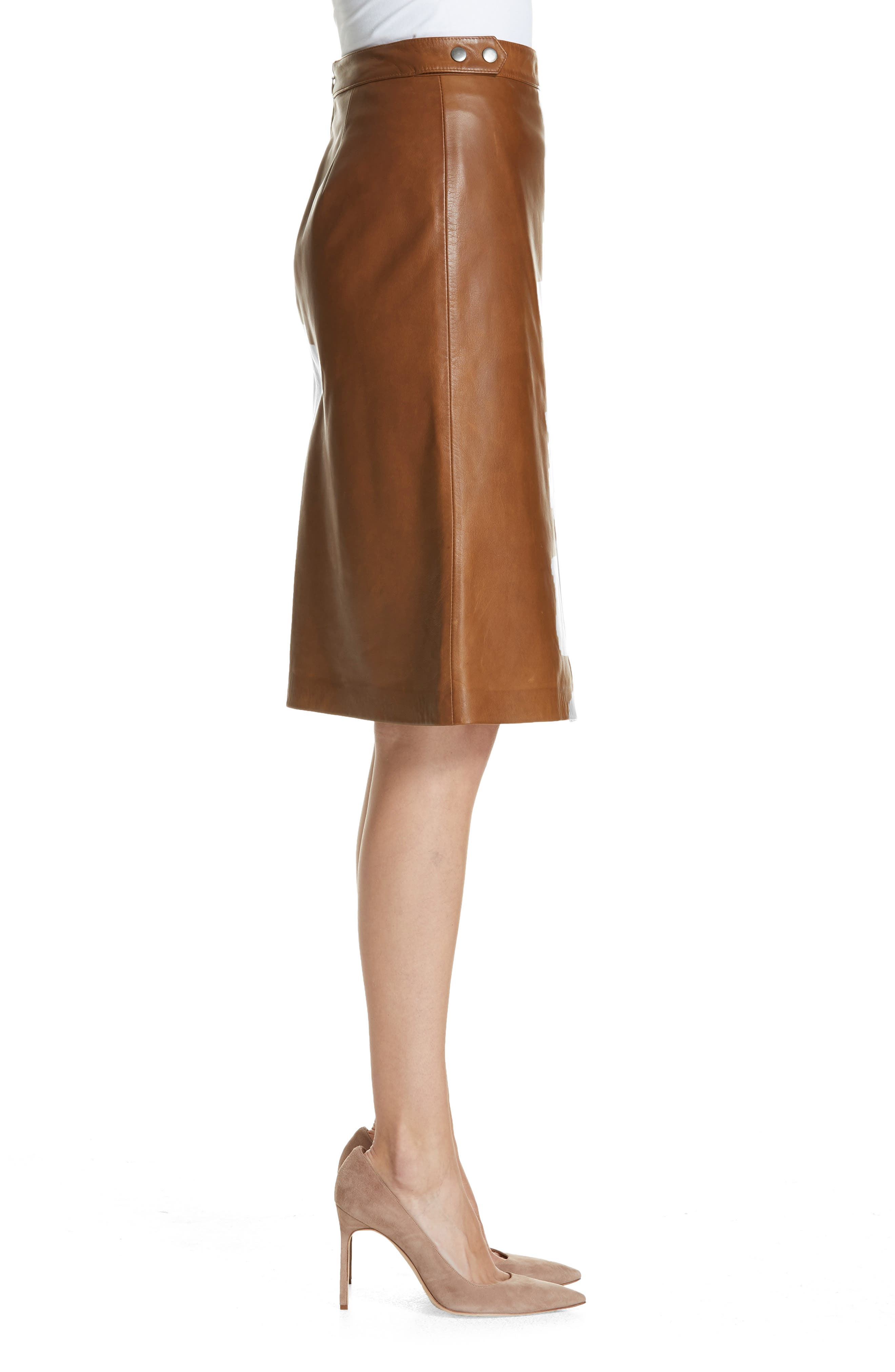 Faux Wrap Leather Skirt,                             Alternate thumbnail 3, color,                             RUST BISQUE
