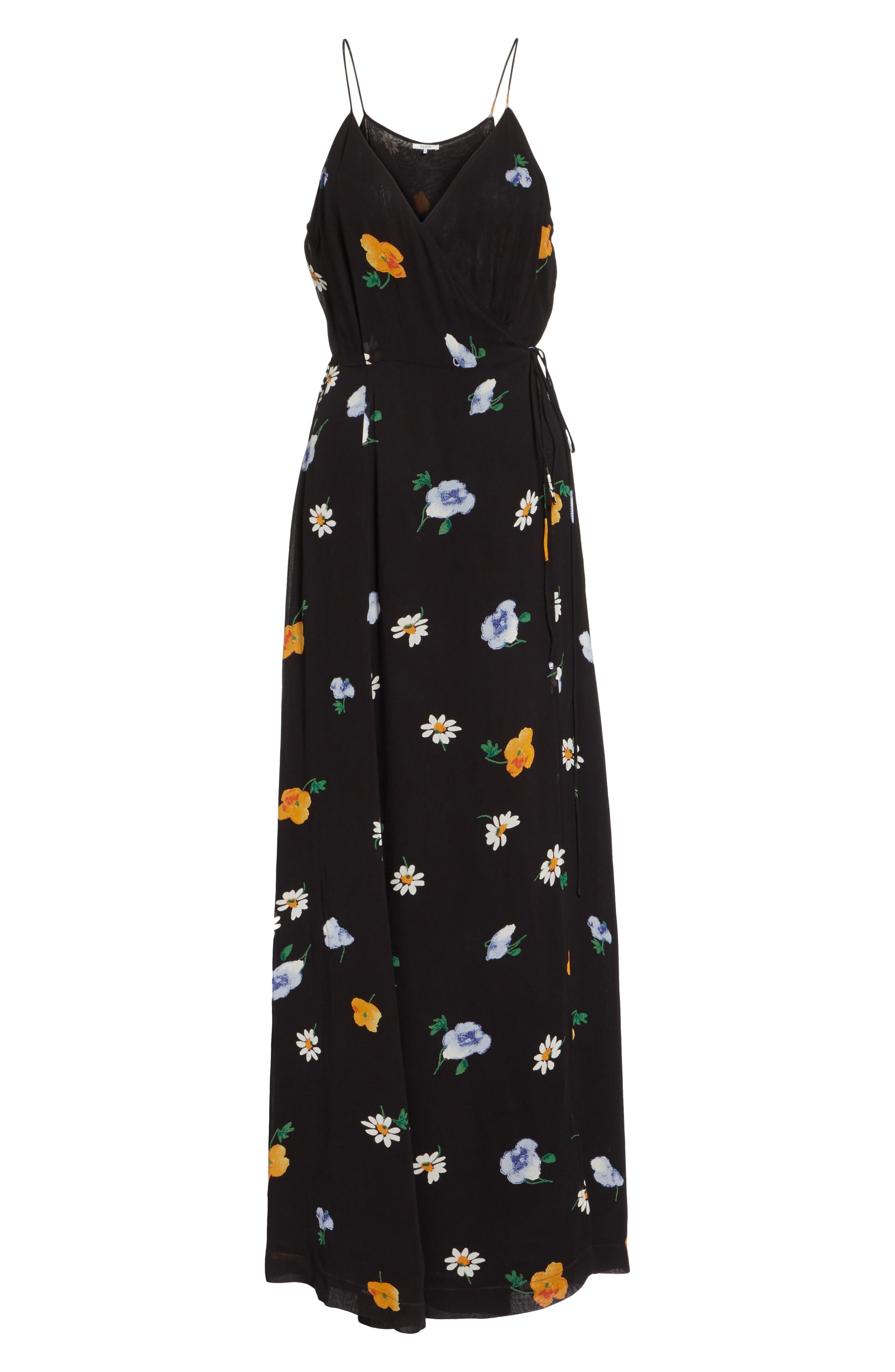 Dainty Georgette Strap Dress,                             Alternate thumbnail 7, color,                             BLACK