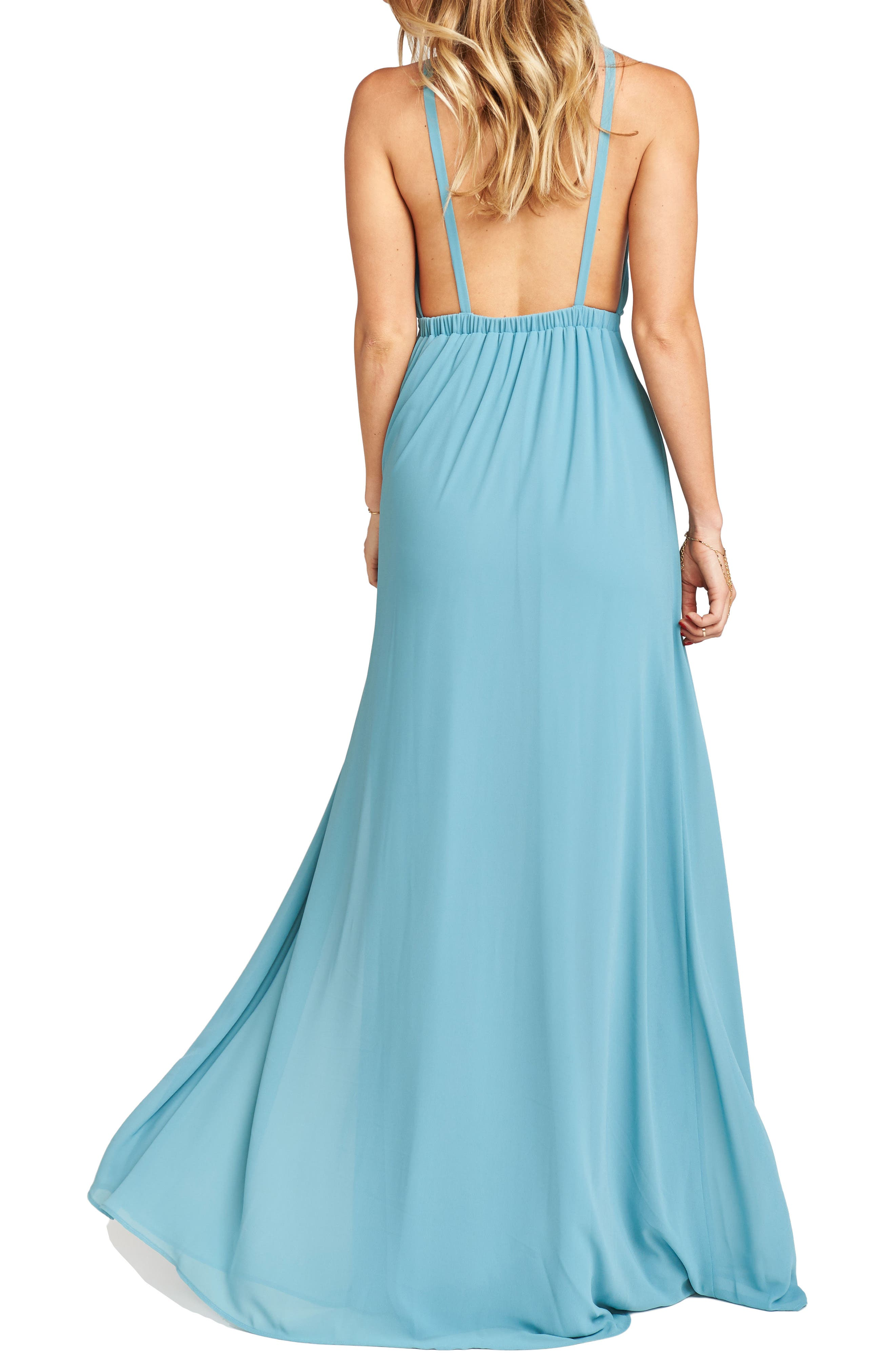 Amanda Open Back Blouson Gown,                             Alternate thumbnail 11, color,