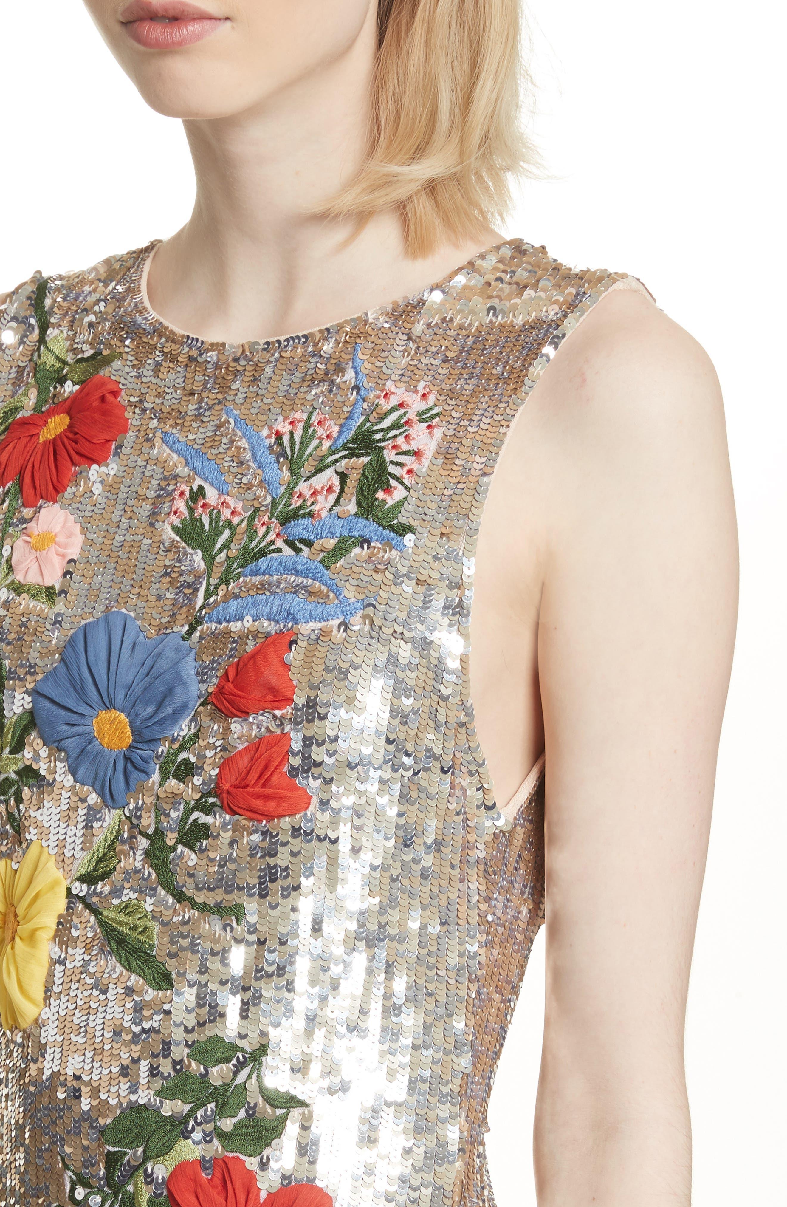 Nat Embellished Sheath Dress,                             Alternate thumbnail 4, color,                             047