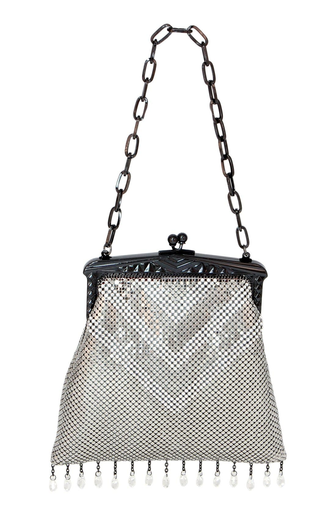 'Heritage - Deco' Mesh Clutch,                             Main thumbnail 1, color,                             PEWTER