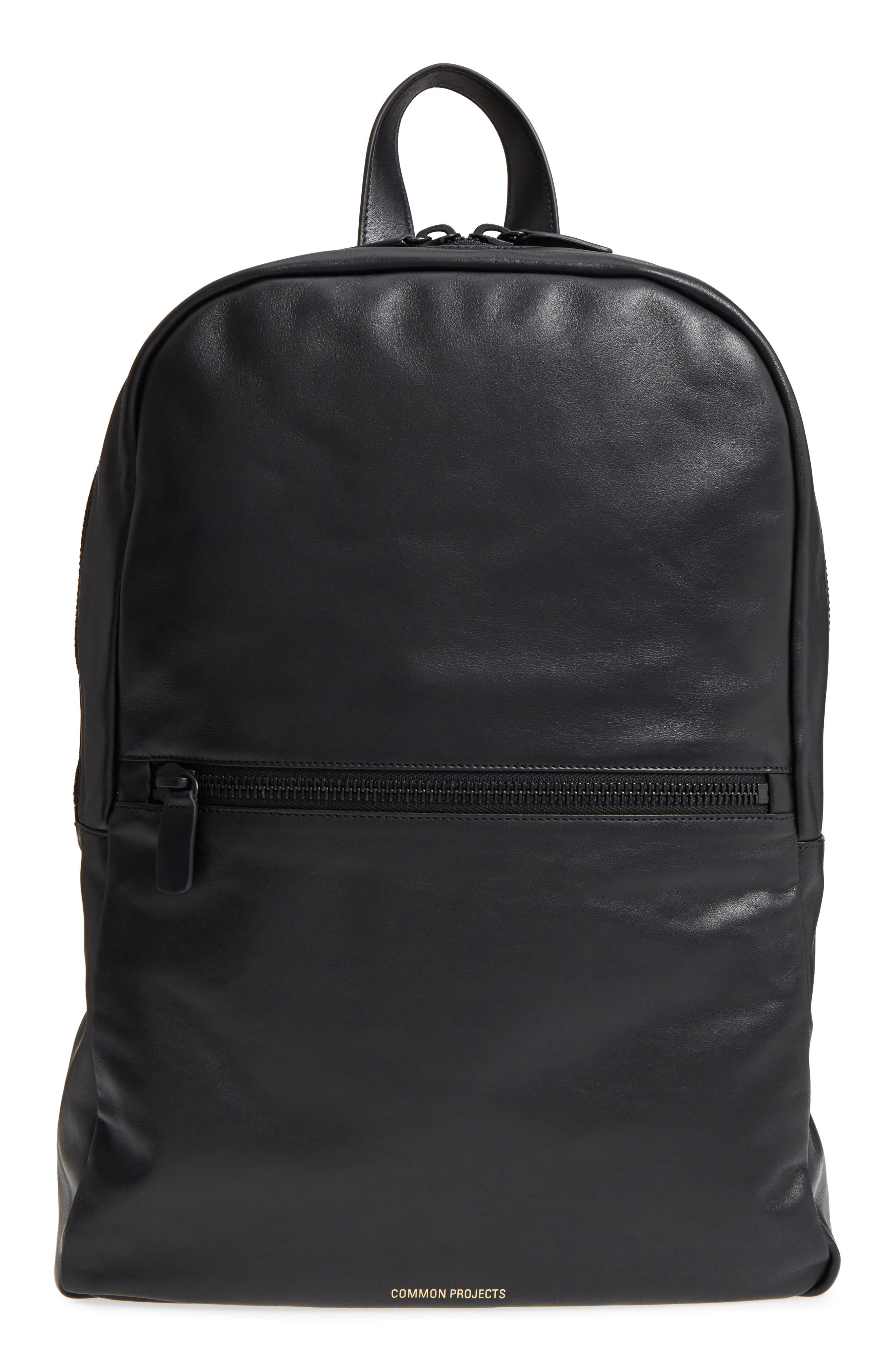 Soft Leather Backpack,                         Main,                         color, BLACK