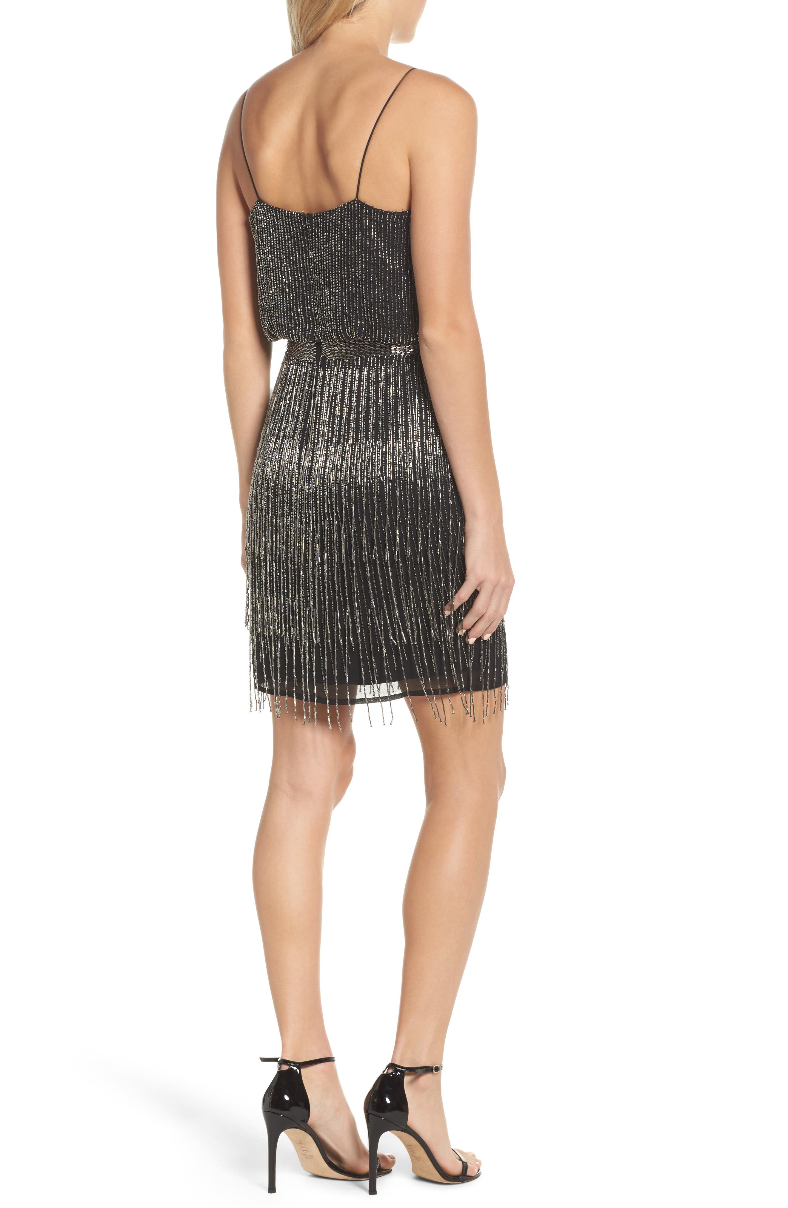 Beaded Fringe Blouson Dress,                             Alternate thumbnail 2, color,                             017