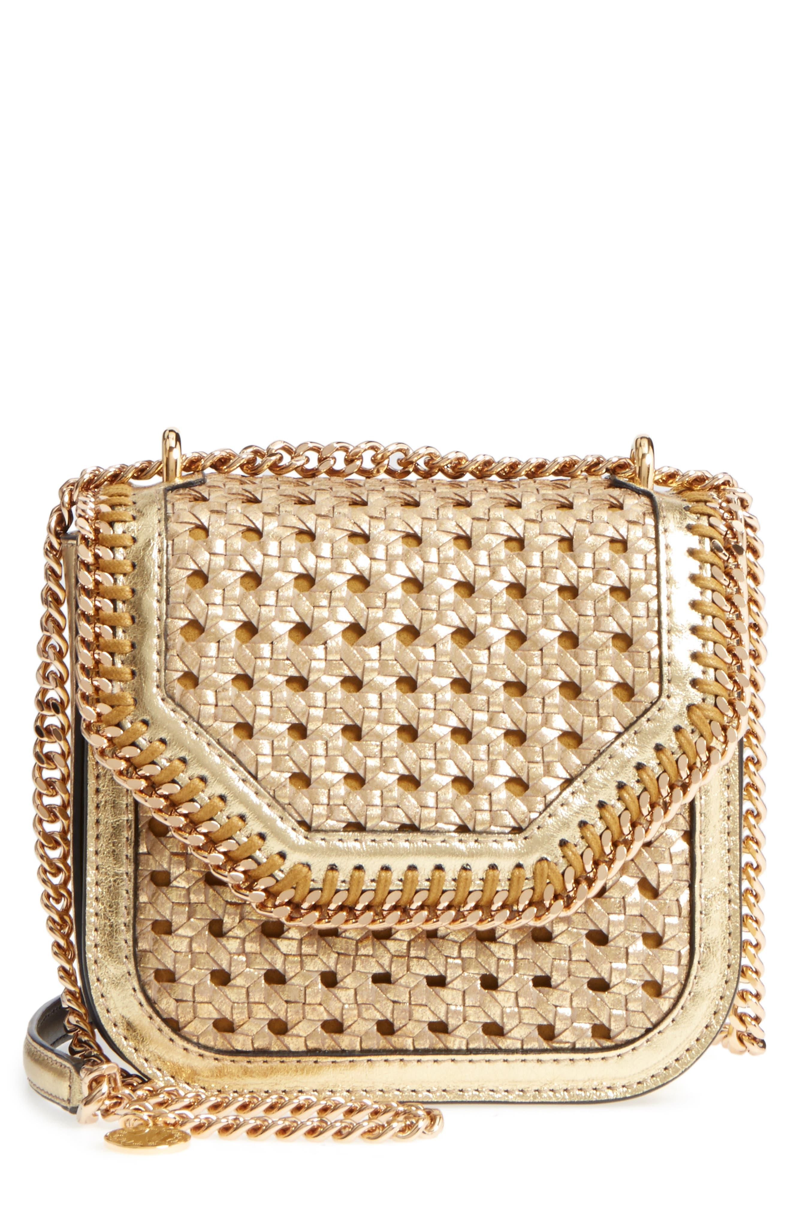 Falabella Box Woven Metallic Faux Leather Shoulder Bag,                         Main,                         color,