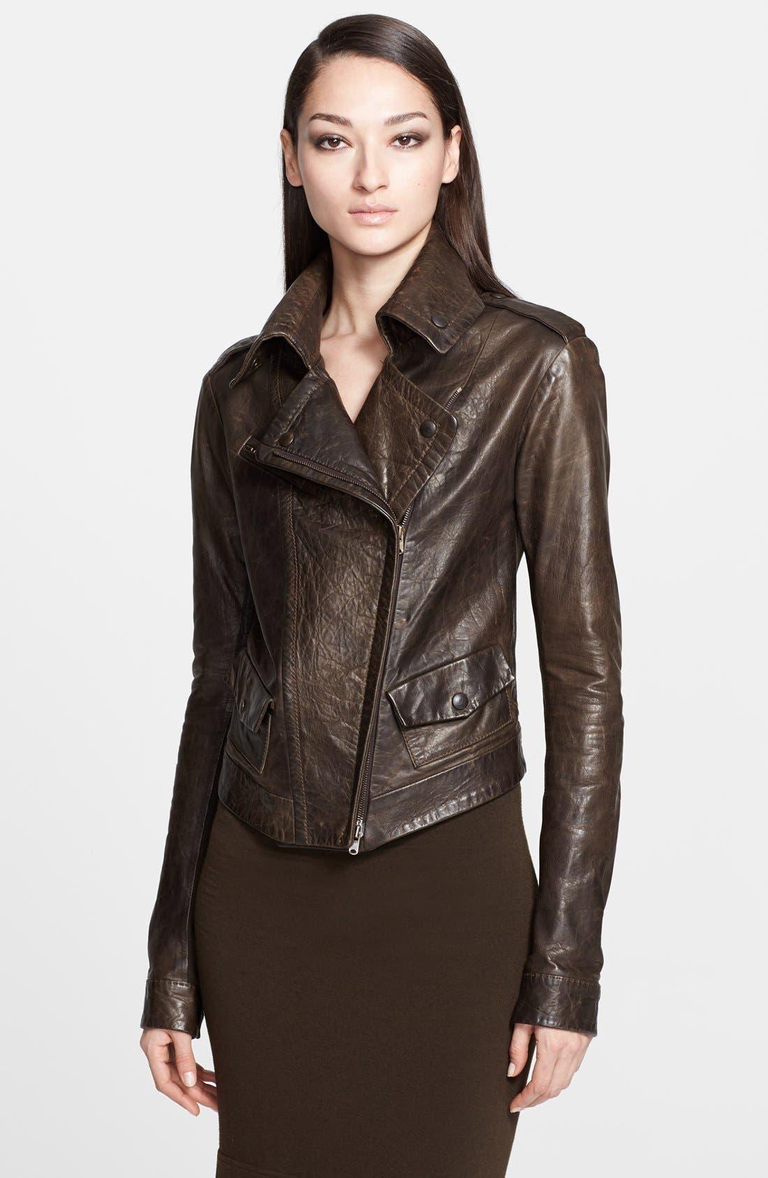 Donna Karan Collection Leather Moto Jacket,                             Main thumbnail 1, color,                             242