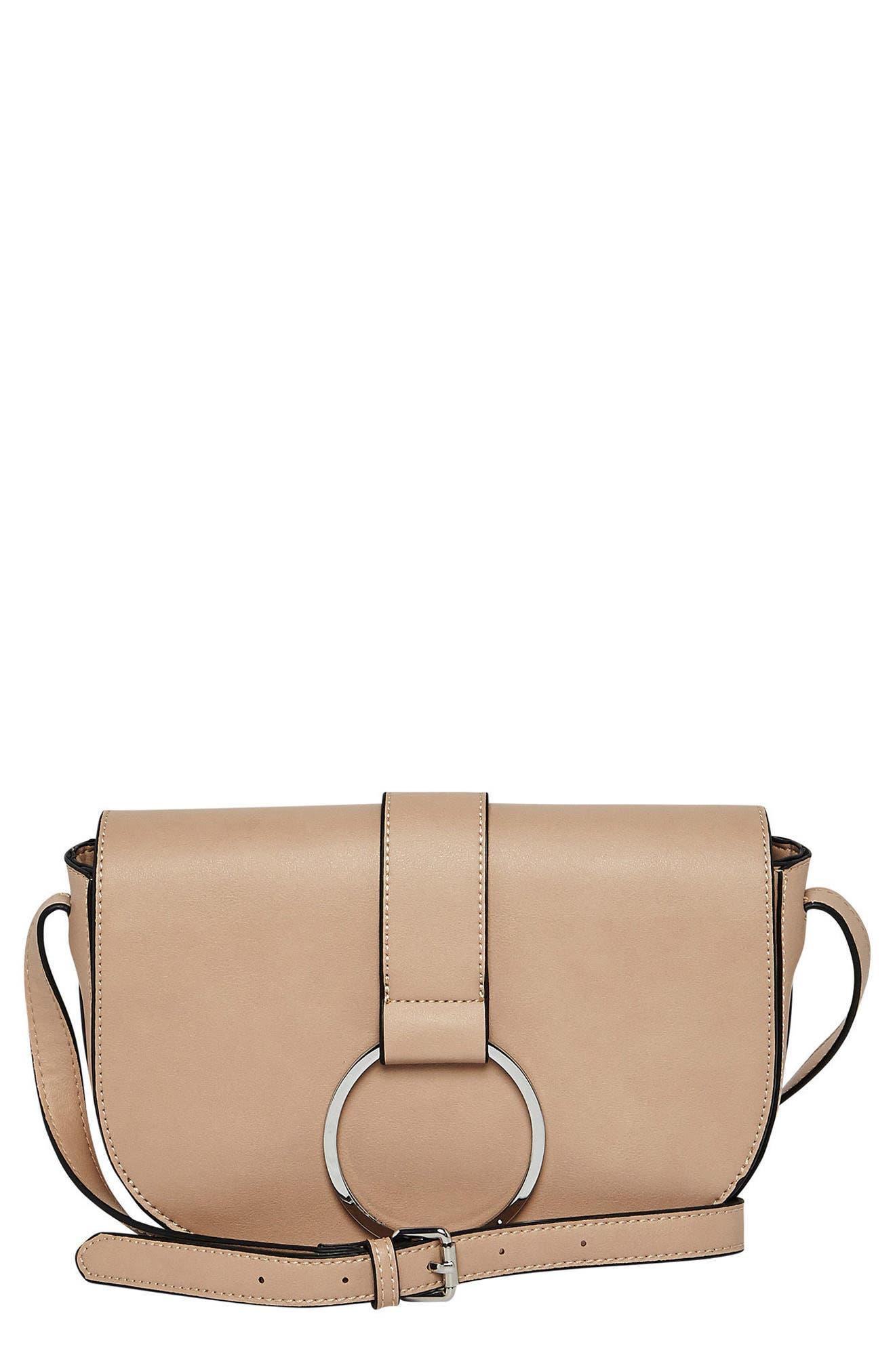 Lola Vegan Leather Crossbody Saddle Bag,                         Main,                         color, PINK