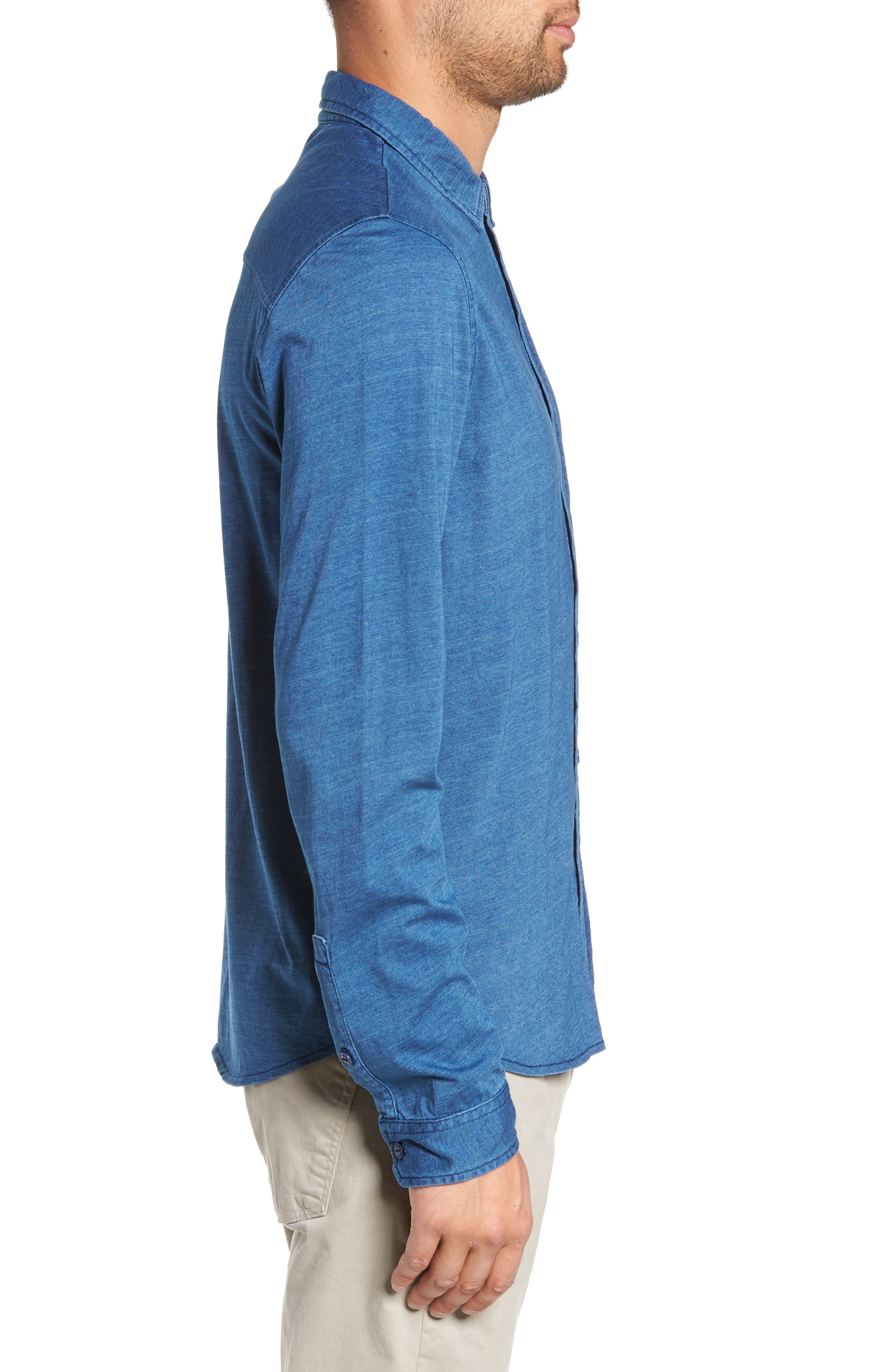 Knit Sport Shirt,                             Alternate thumbnail 3, color,                             MEDIUM INDIGO