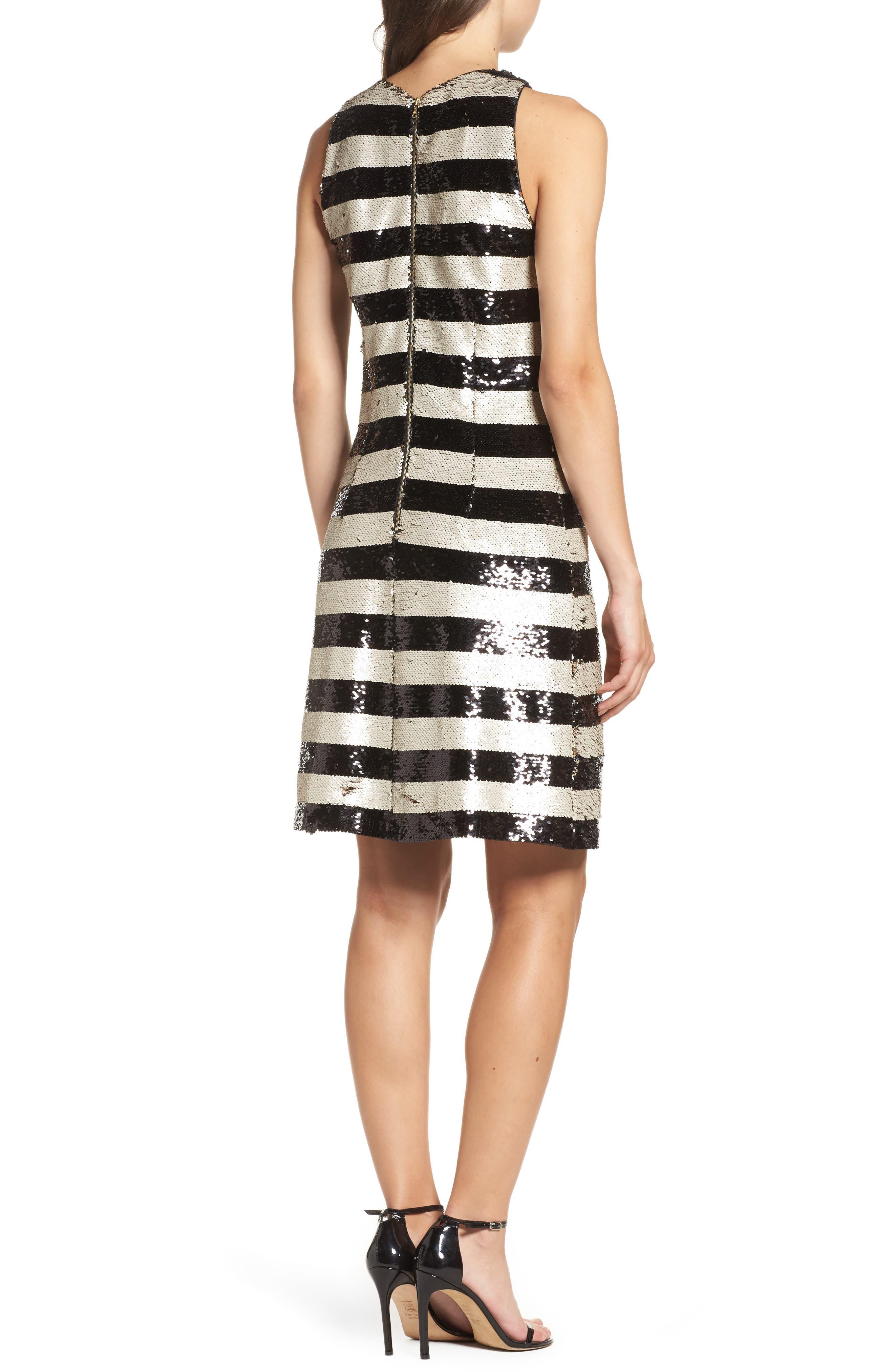 Reversible Stripe Sequin Shift Dress,                             Alternate thumbnail 2, color,                             006