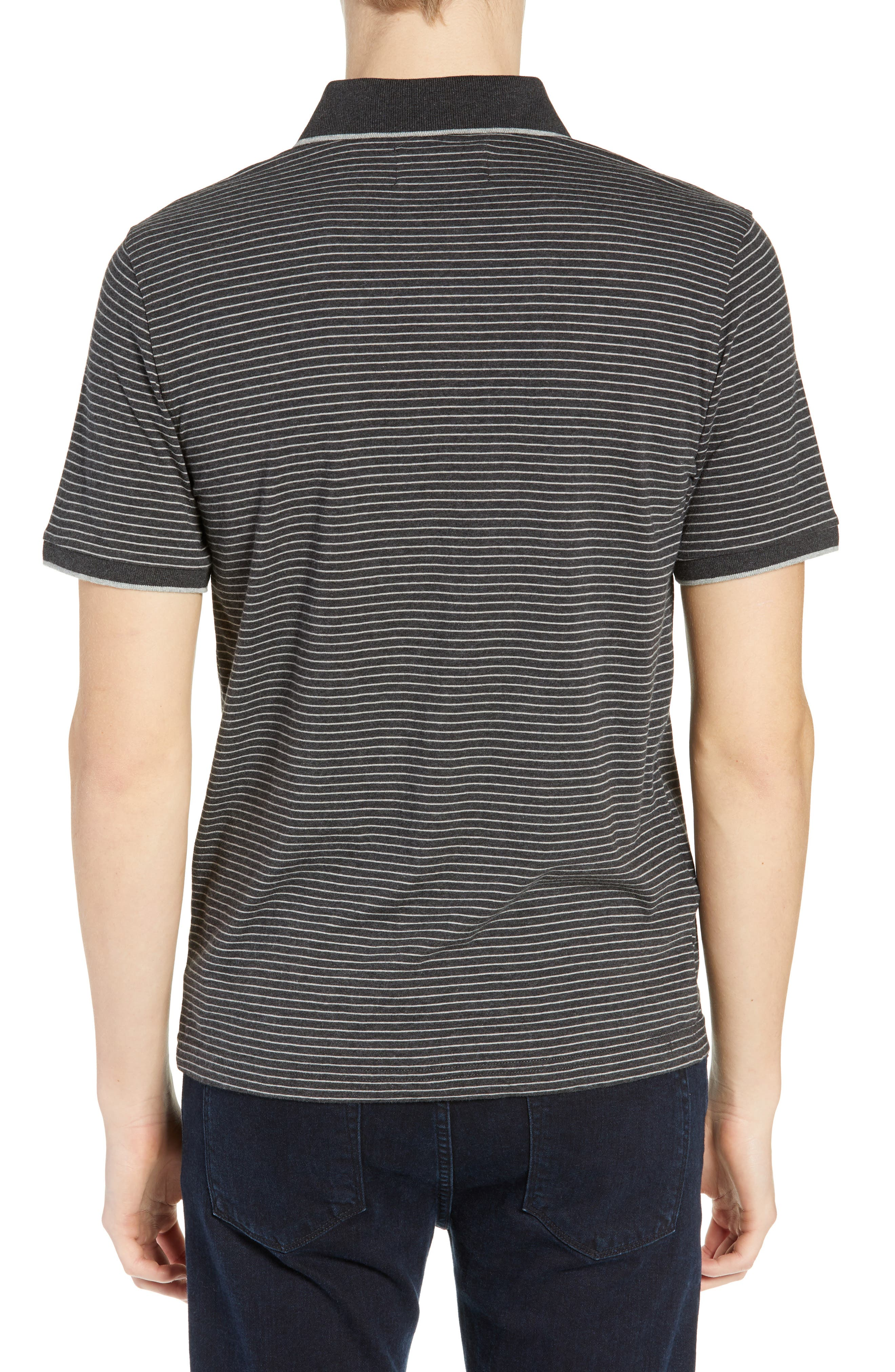 Tipped Feeder Stripe Polo,                             Alternate thumbnail 2, color,                             DARK CHARCOAL HEATHER