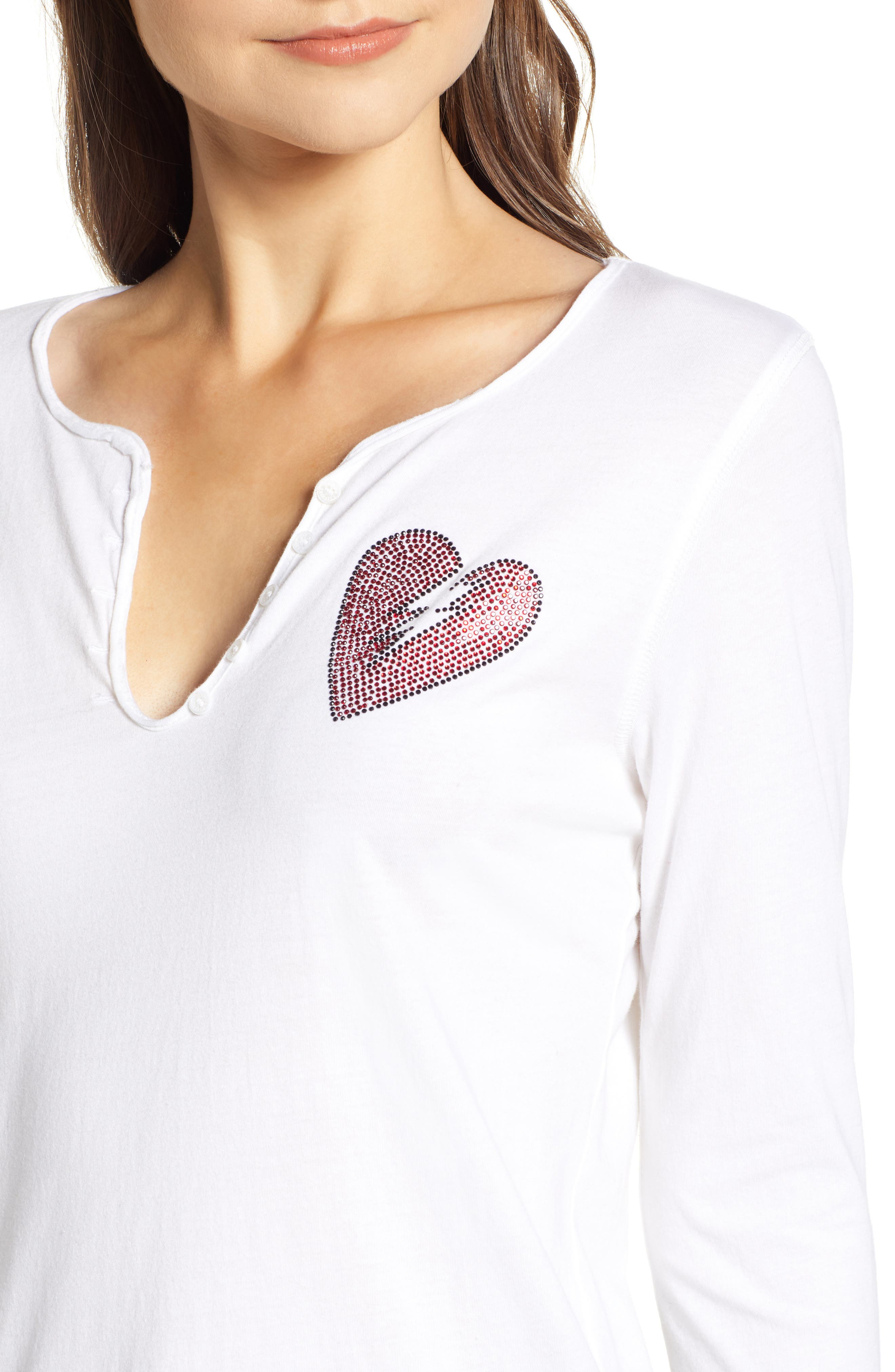 Crystal Heart Detail Split Neck Cotton Top,                             Alternate thumbnail 4, color,                             BLANC