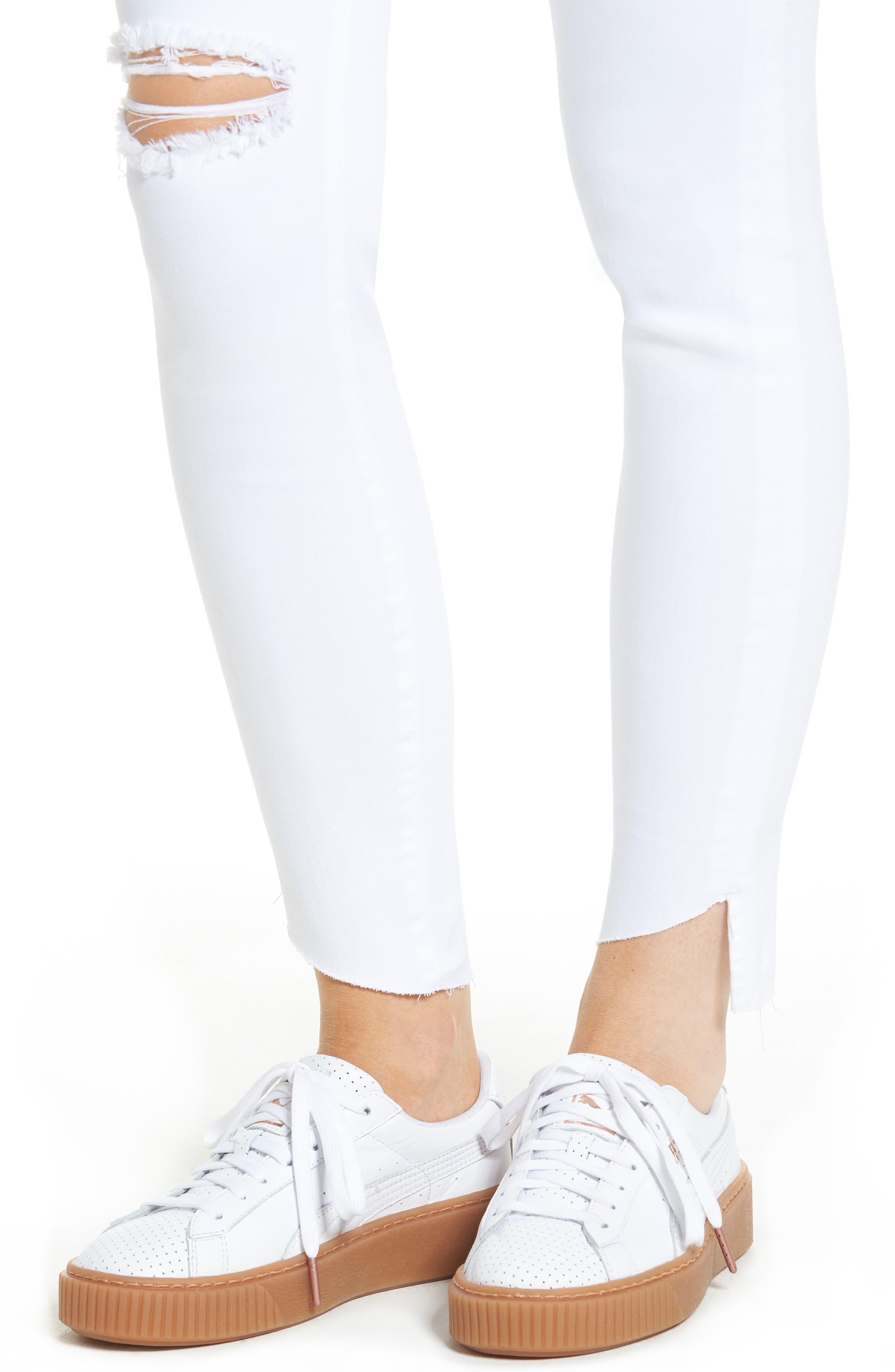 Angled Step Hem Skinny Jeans,                             Alternate thumbnail 4, color,                             100