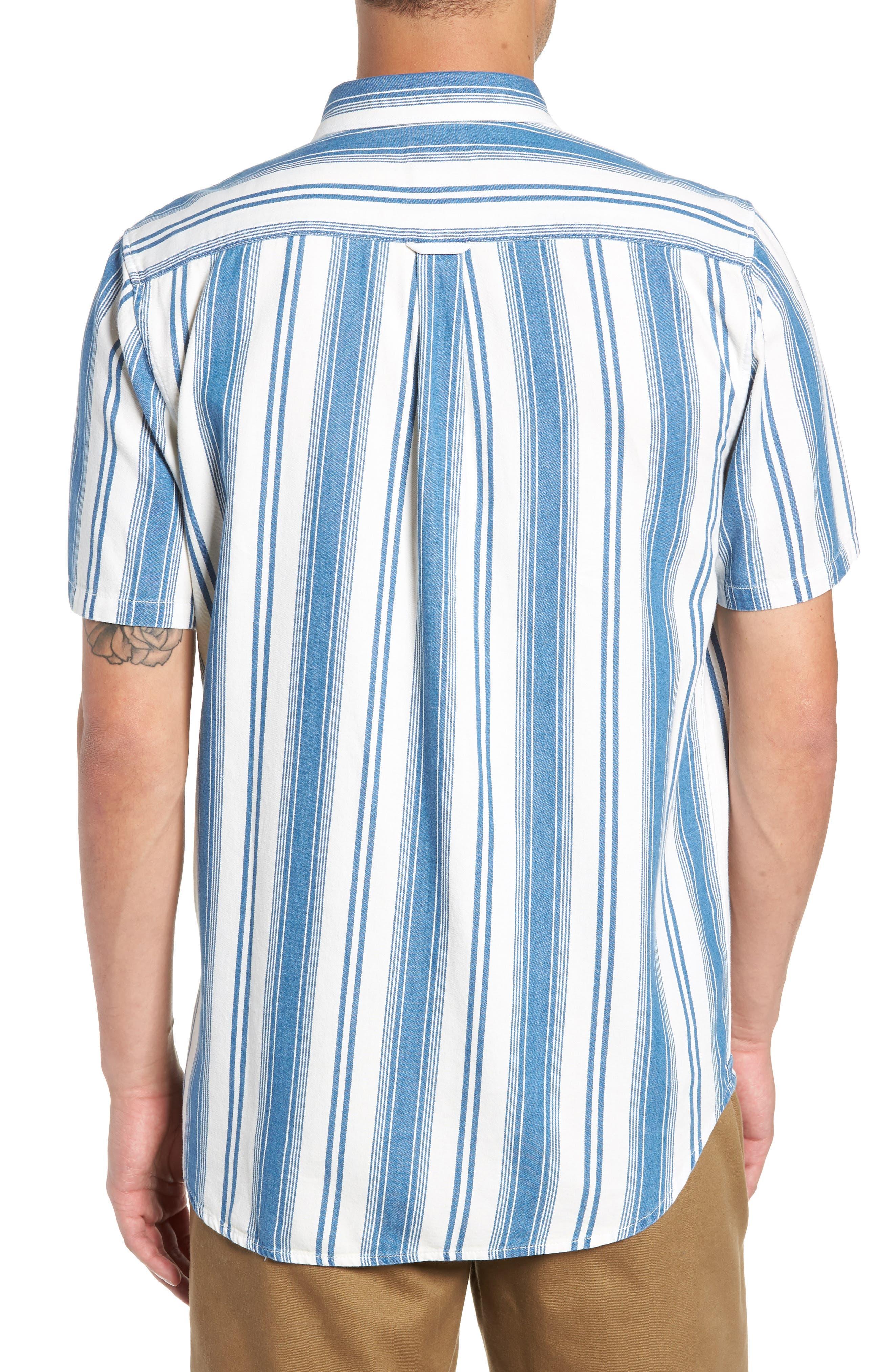 Linden Striped Woven Shirt,                             Alternate thumbnail 3, color,                             INDIGO