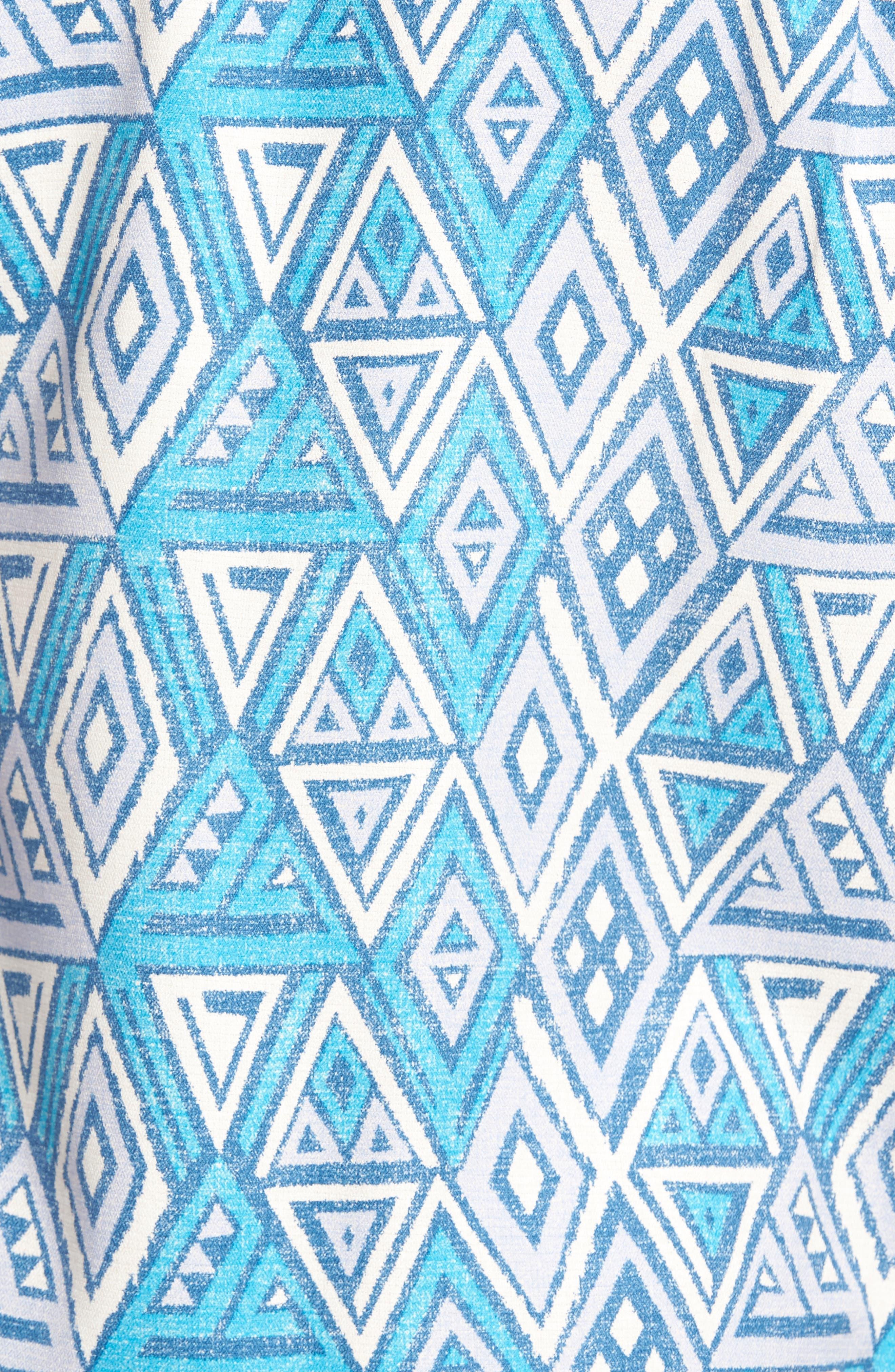 Trio Geo Silk Blend Camp Shirt,                             Alternate thumbnail 5, color,