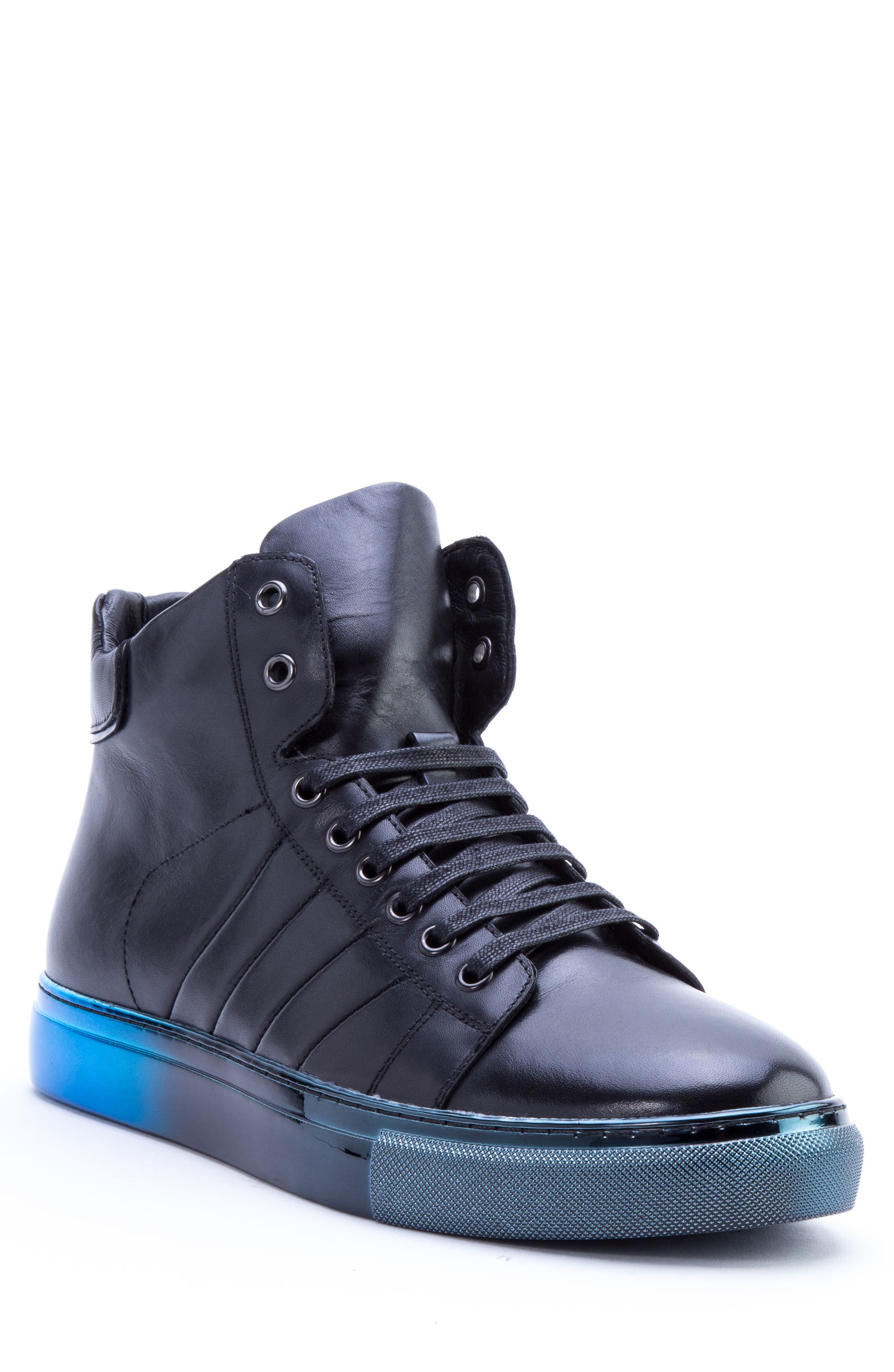 Badgley Mischka Hunter High Top Sneaker,                         Main,                         color, NAVY LEATHER