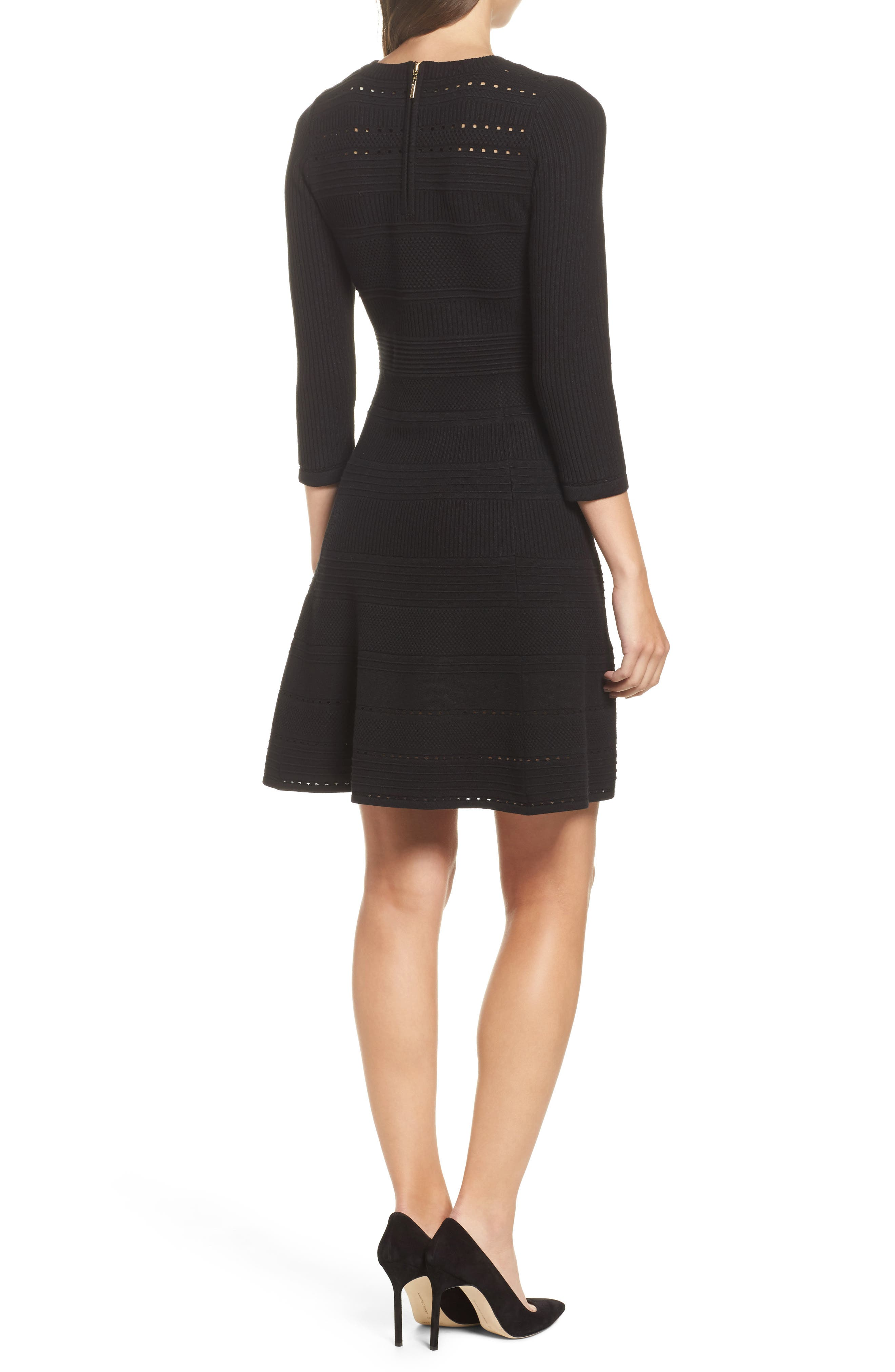 Fit & Flare Sweater Dress,                             Alternate thumbnail 2, color,                             BLACK