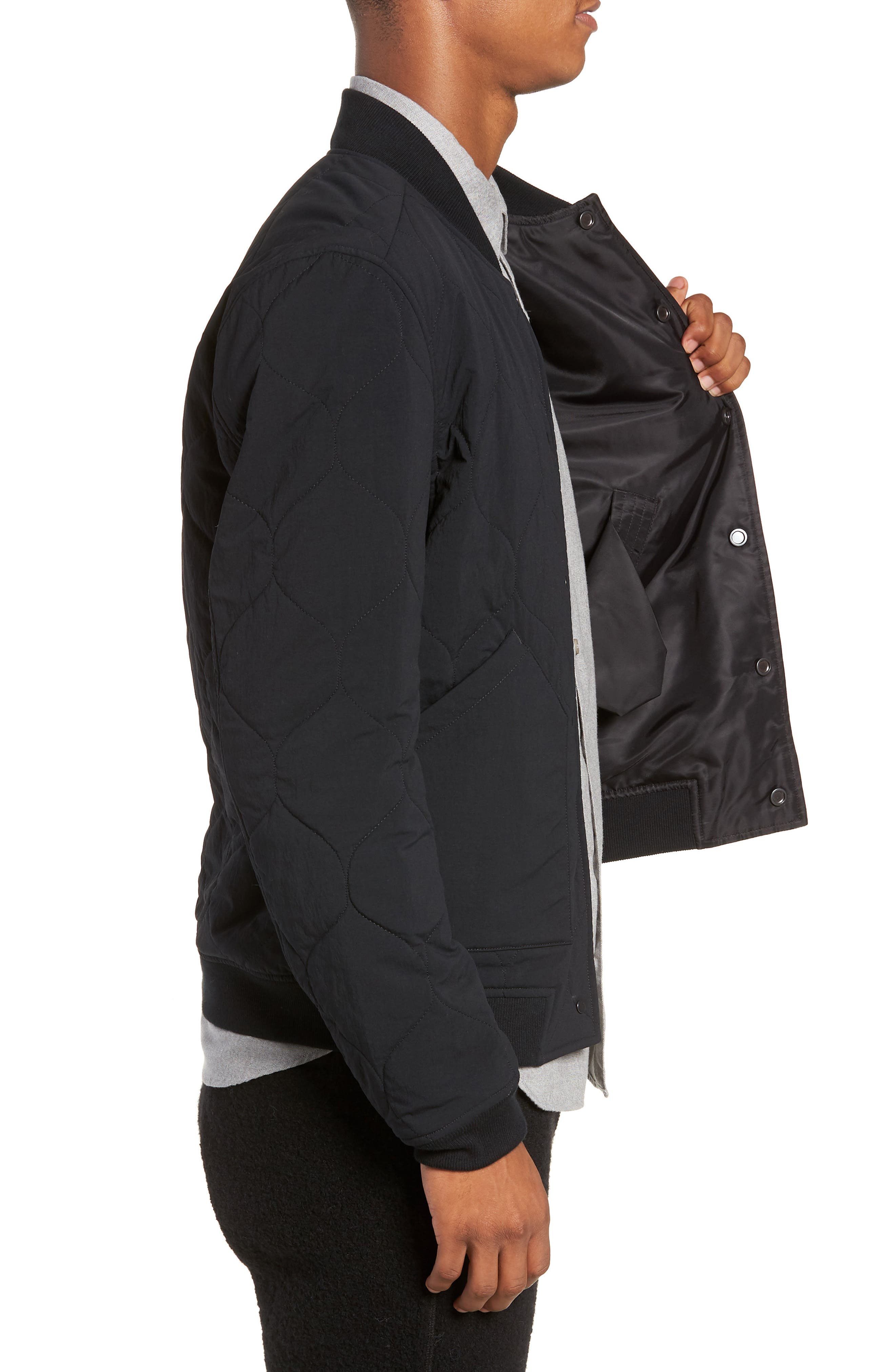 Reversible Bomber Jacket,                             Alternate thumbnail 4, color,                             BLACK
