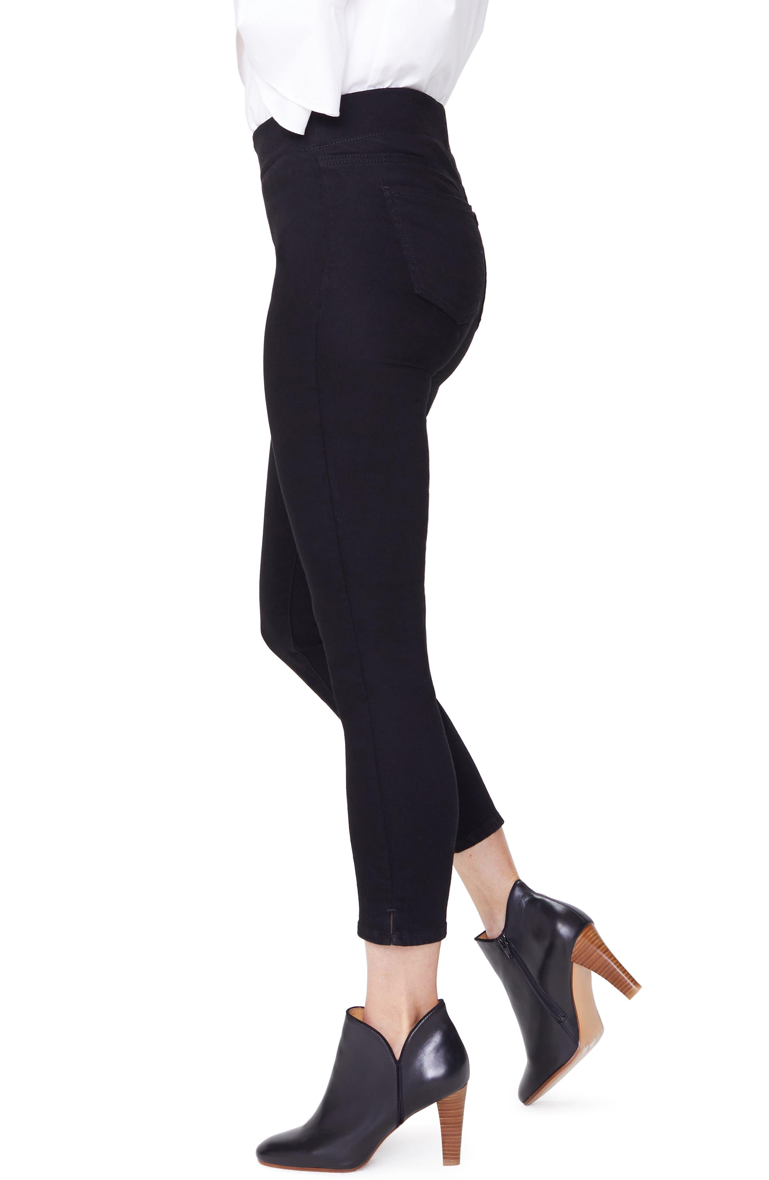 Alina High Waist Pull-On Ankle Skinny Jeans,                             Alternate thumbnail 3, color,                             BLACK