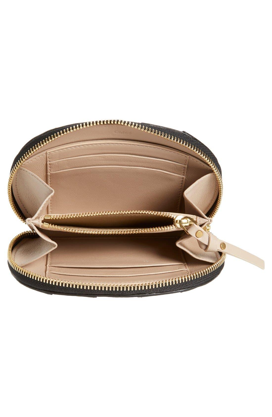 CHLOÉ,                             'Hayley' Zip Around Calfskin Leather Wallet,                             Alternate thumbnail 4, color,                             001