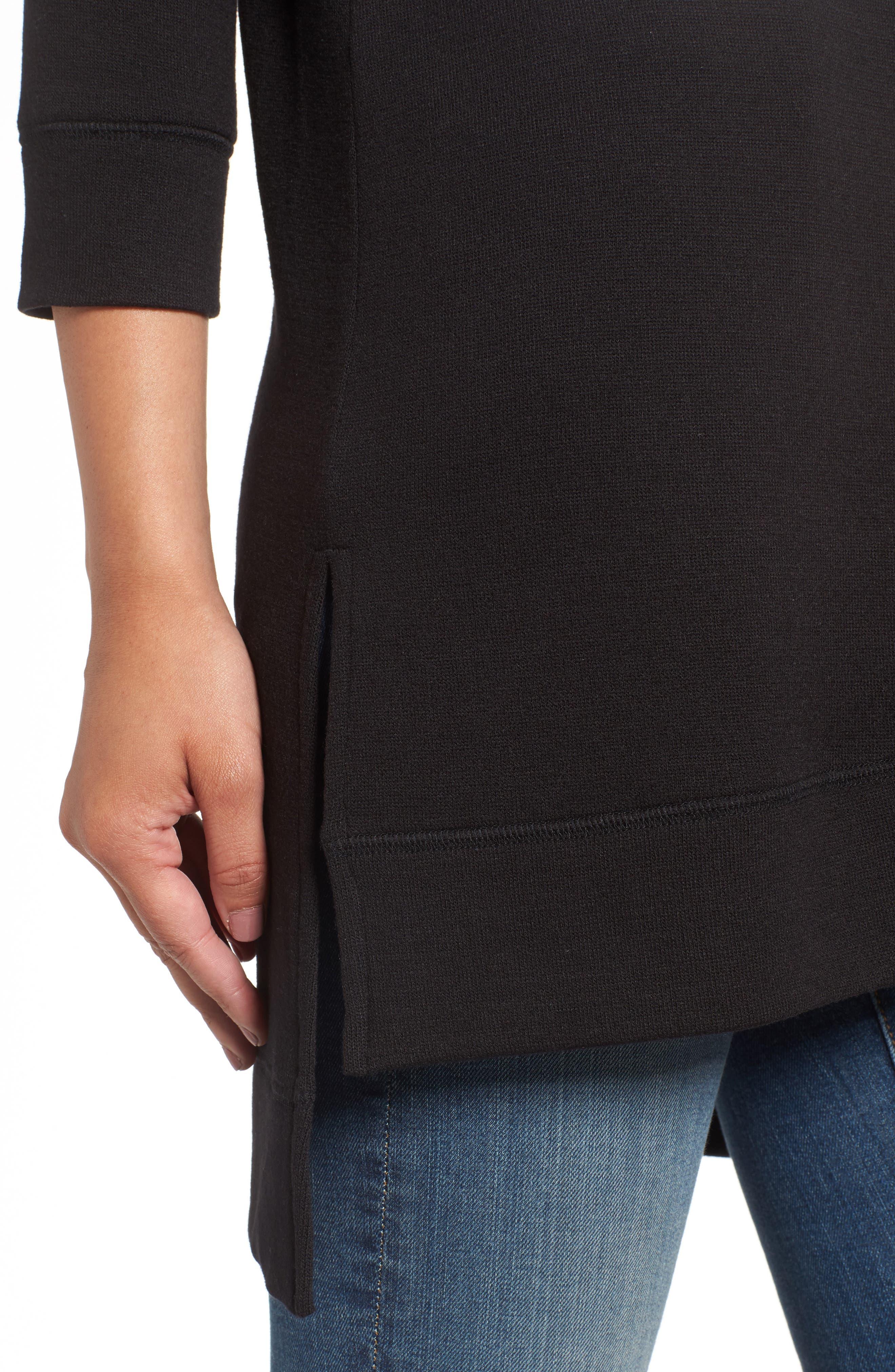 CASLON<SUP>®</SUP>,                             Three Quarter Sleeve Side Slit Tunic,                             Alternate thumbnail 4, color,                             001