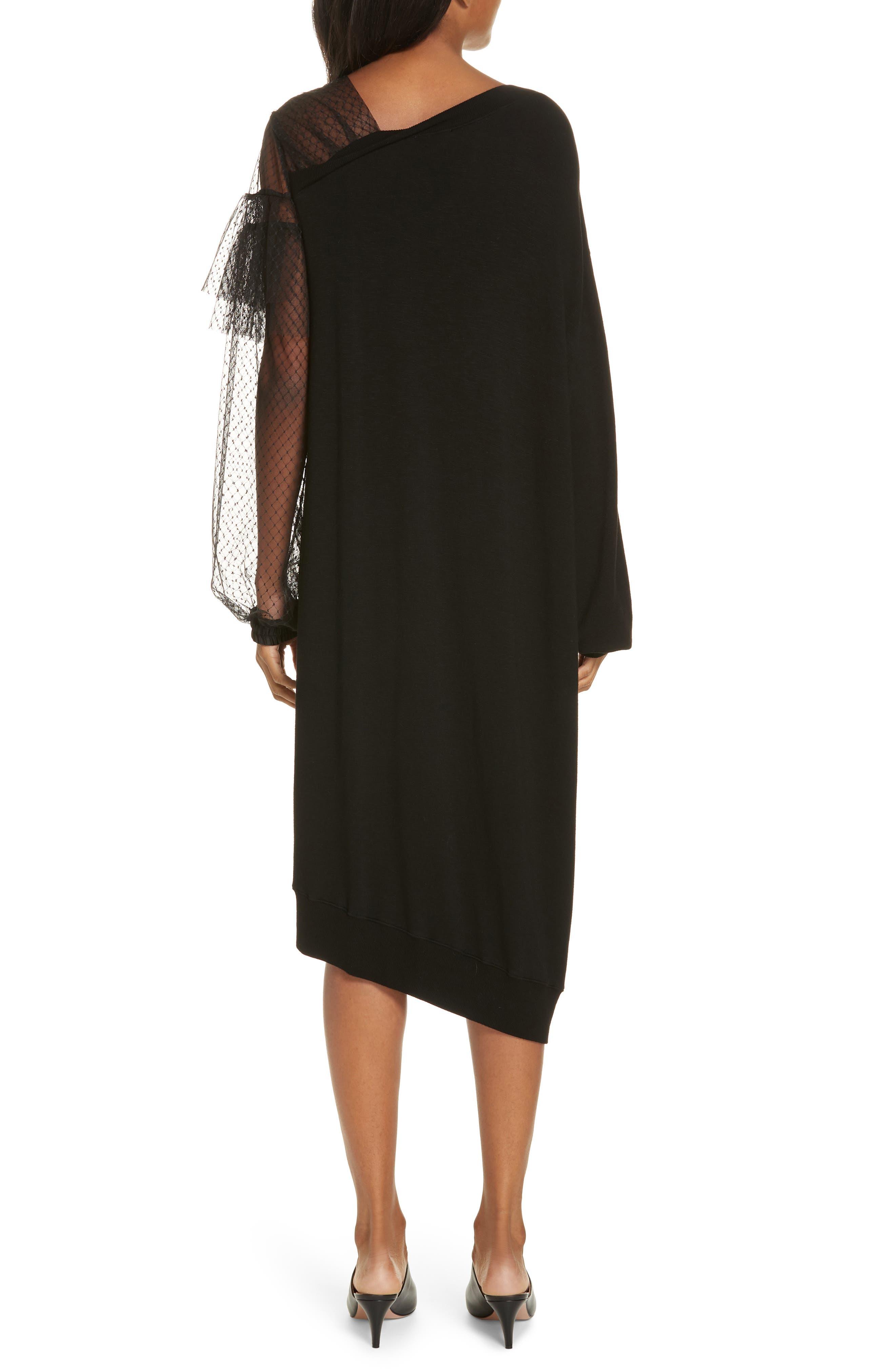 Mix Media Asymmetrical Hem Ruffle Dress,                             Alternate thumbnail 2, color,                             BLACK