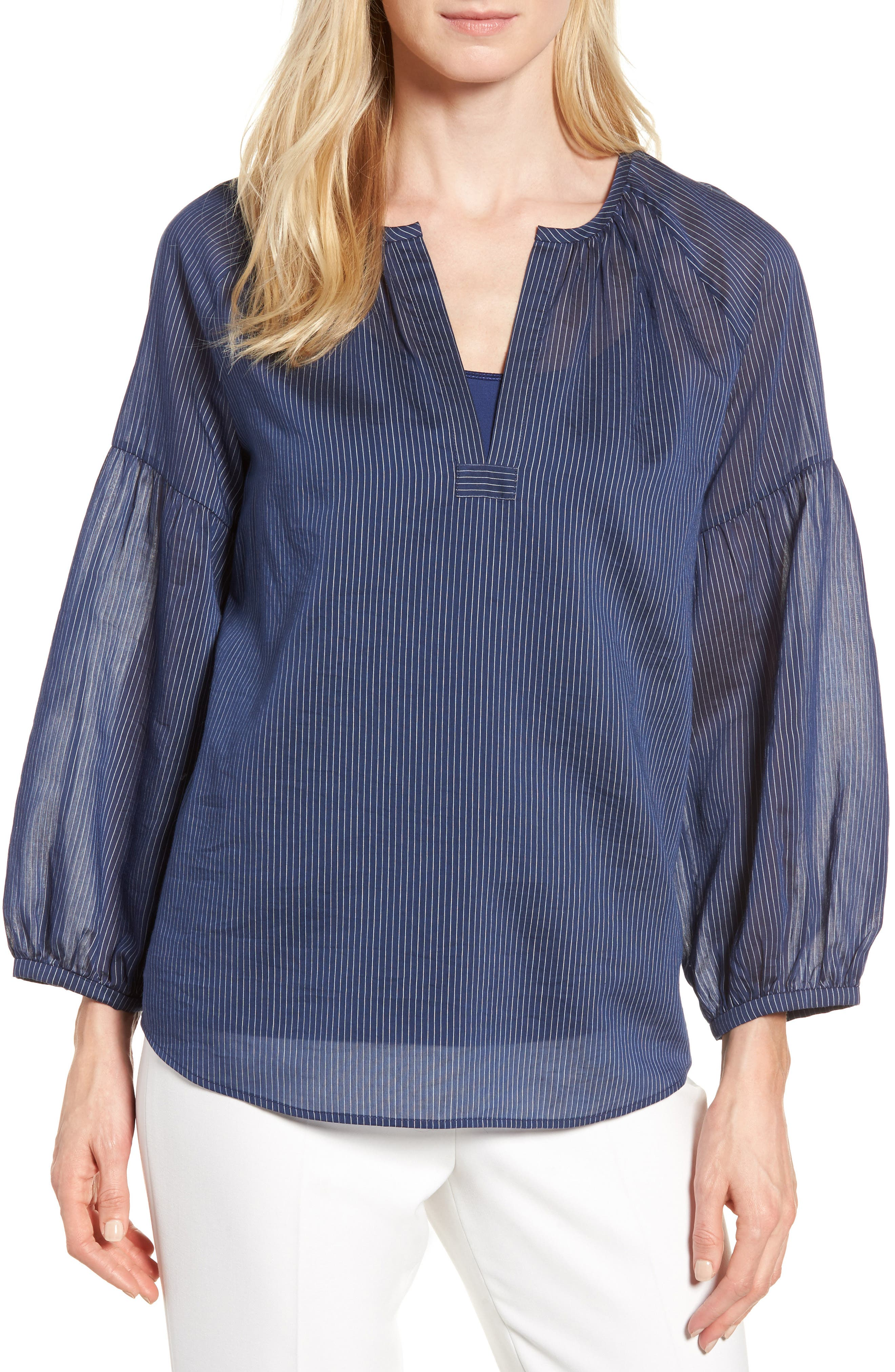 Stripe Cotton & Silk Top,                         Main,                         color, 410