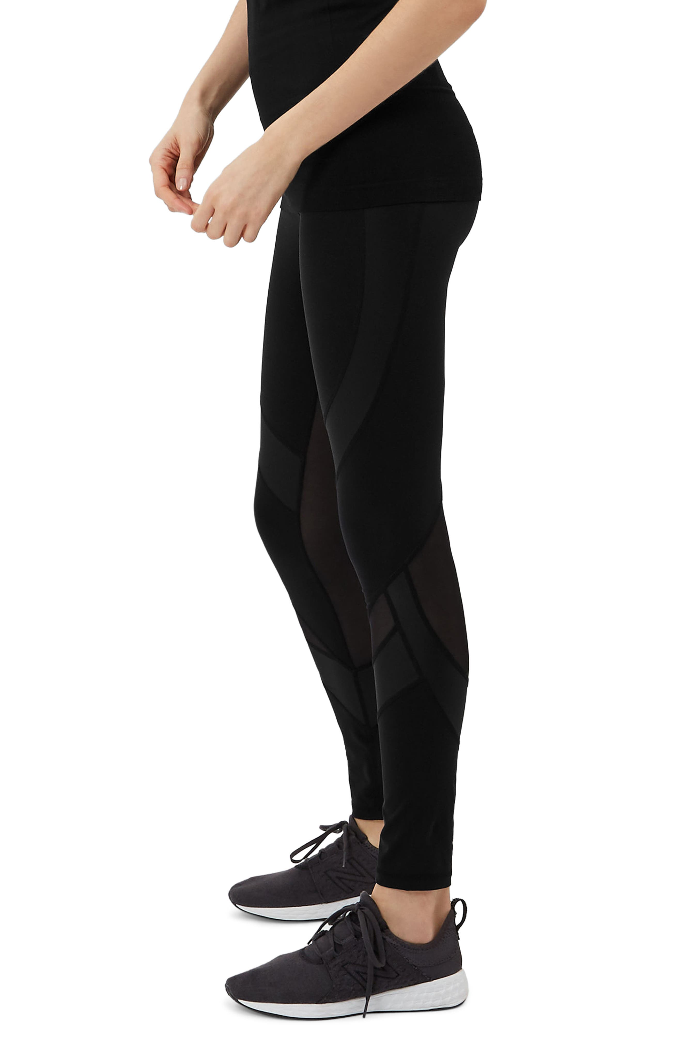 Wetlook Run Leggings,                             Alternate thumbnail 3, color,                             BLACK