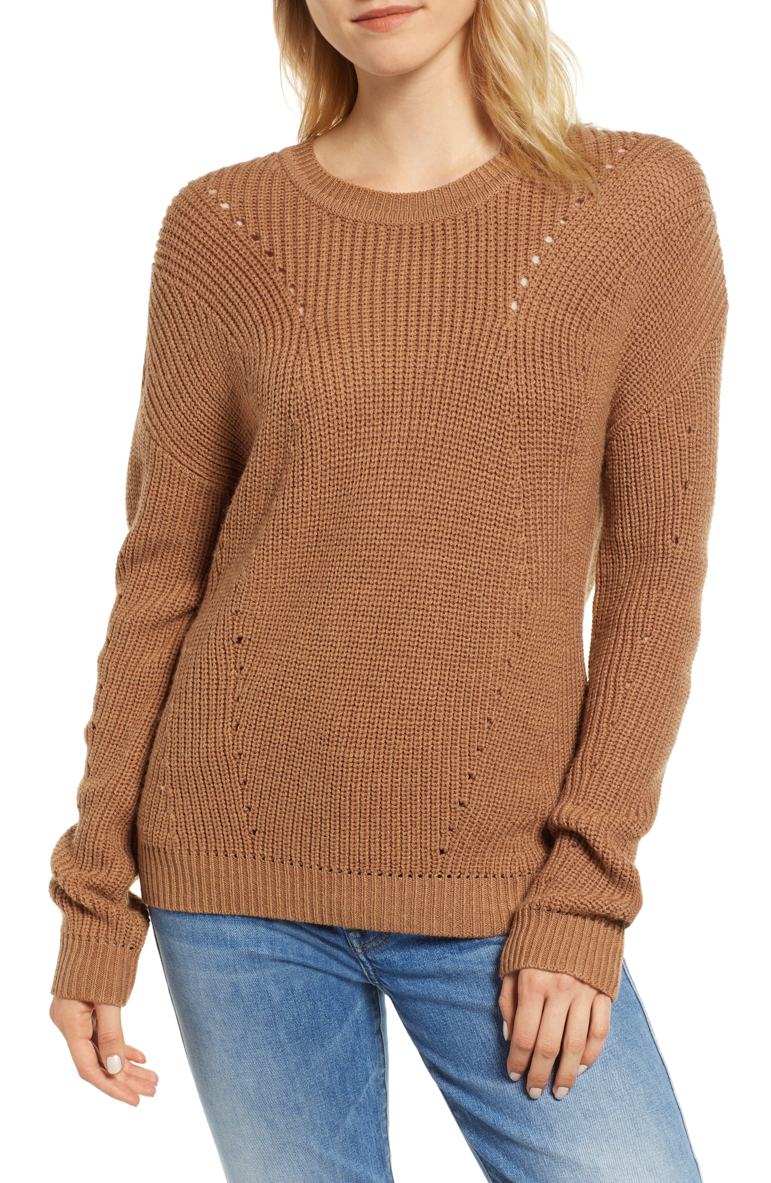 Crewneck Sweater,                         Main,                         color, BRONZE