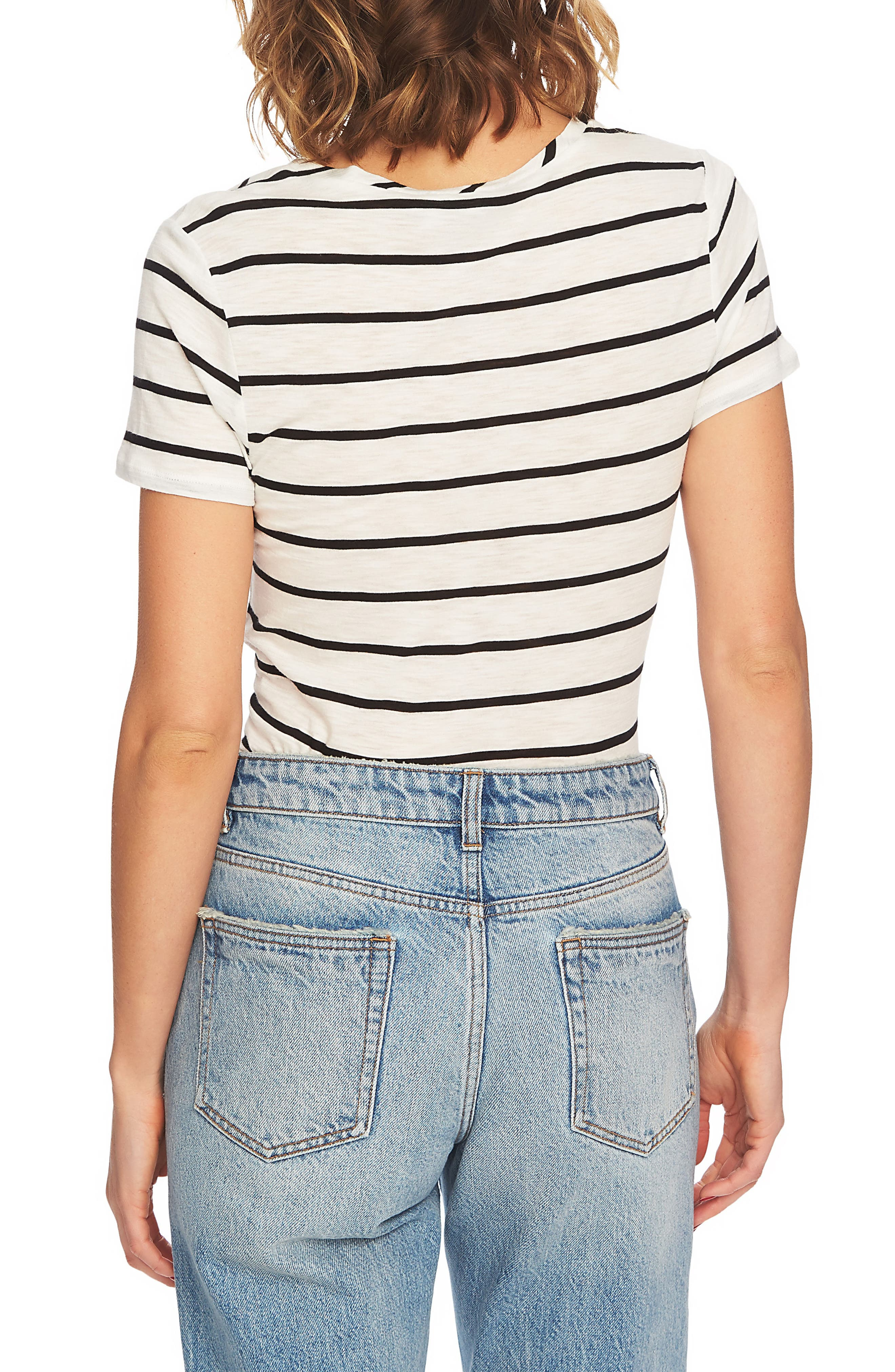 Stripe Twist Front Short Sleeve Tee,                             Alternate thumbnail 2, color,                             006