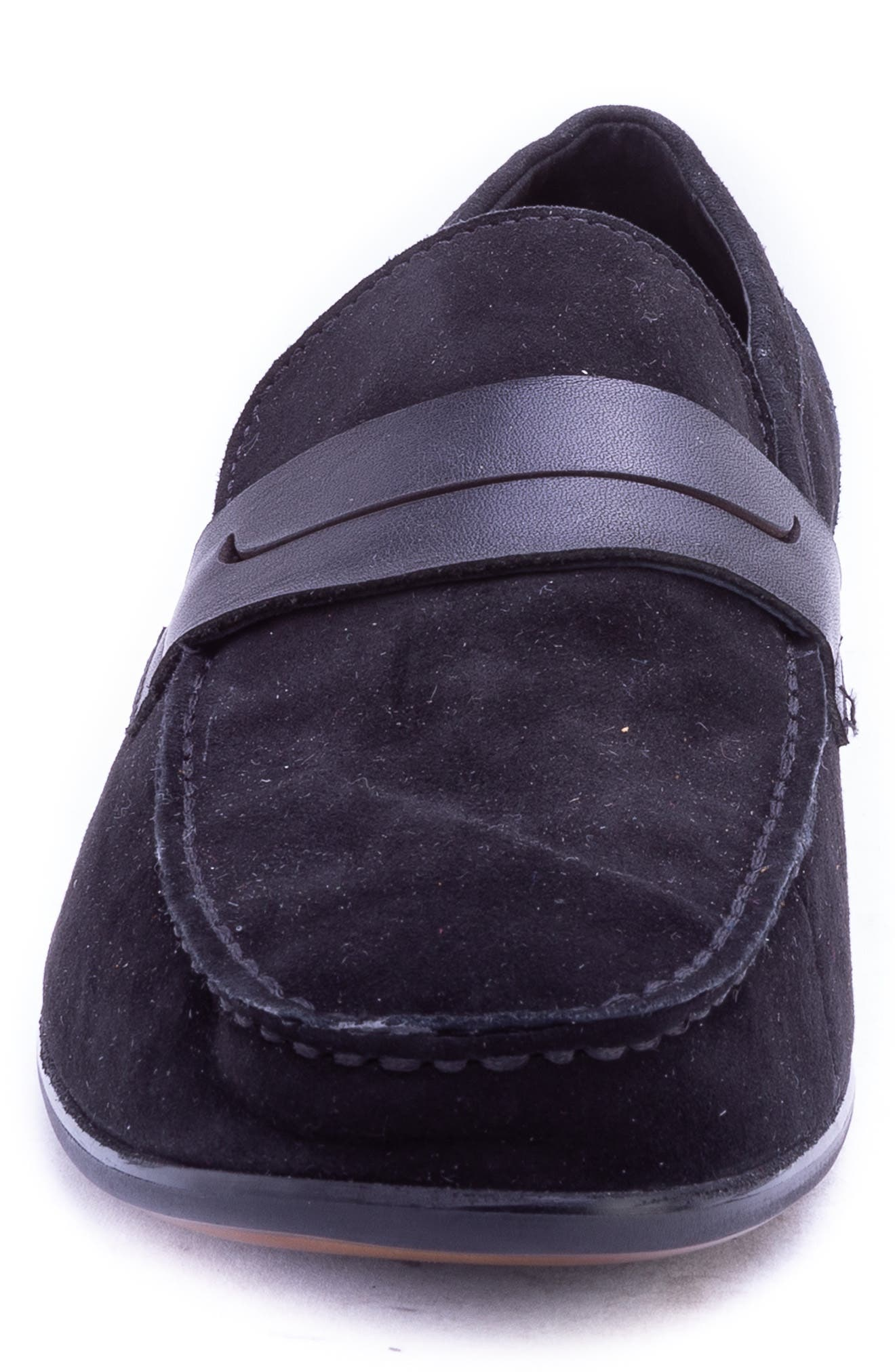 Opie Penny Loafer,                             Alternate thumbnail 4, color,                             BLACK SUEDE/ LEATHER