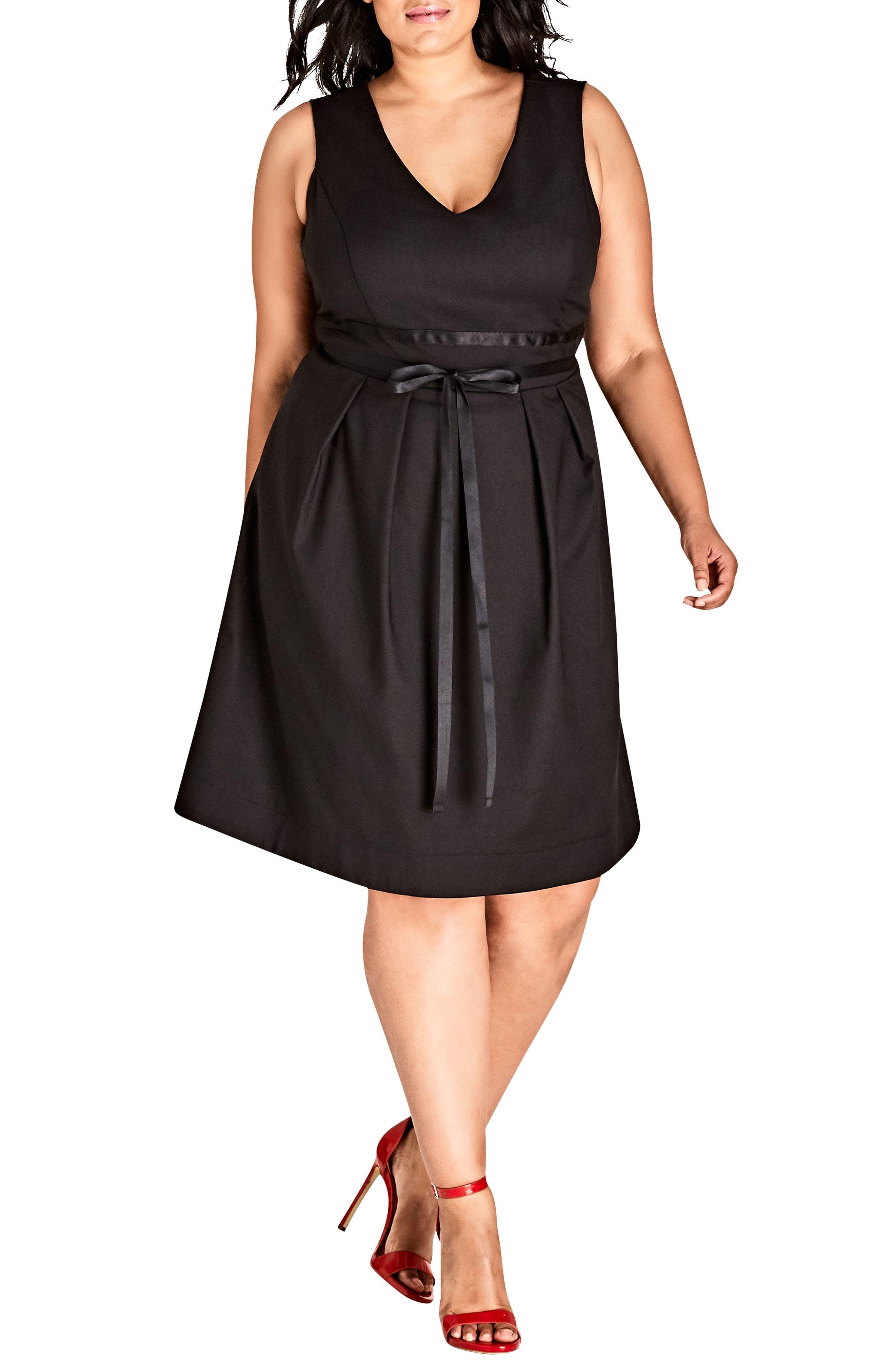 Sleeveless A-Line Dress,                         Main,                         color, BLACK