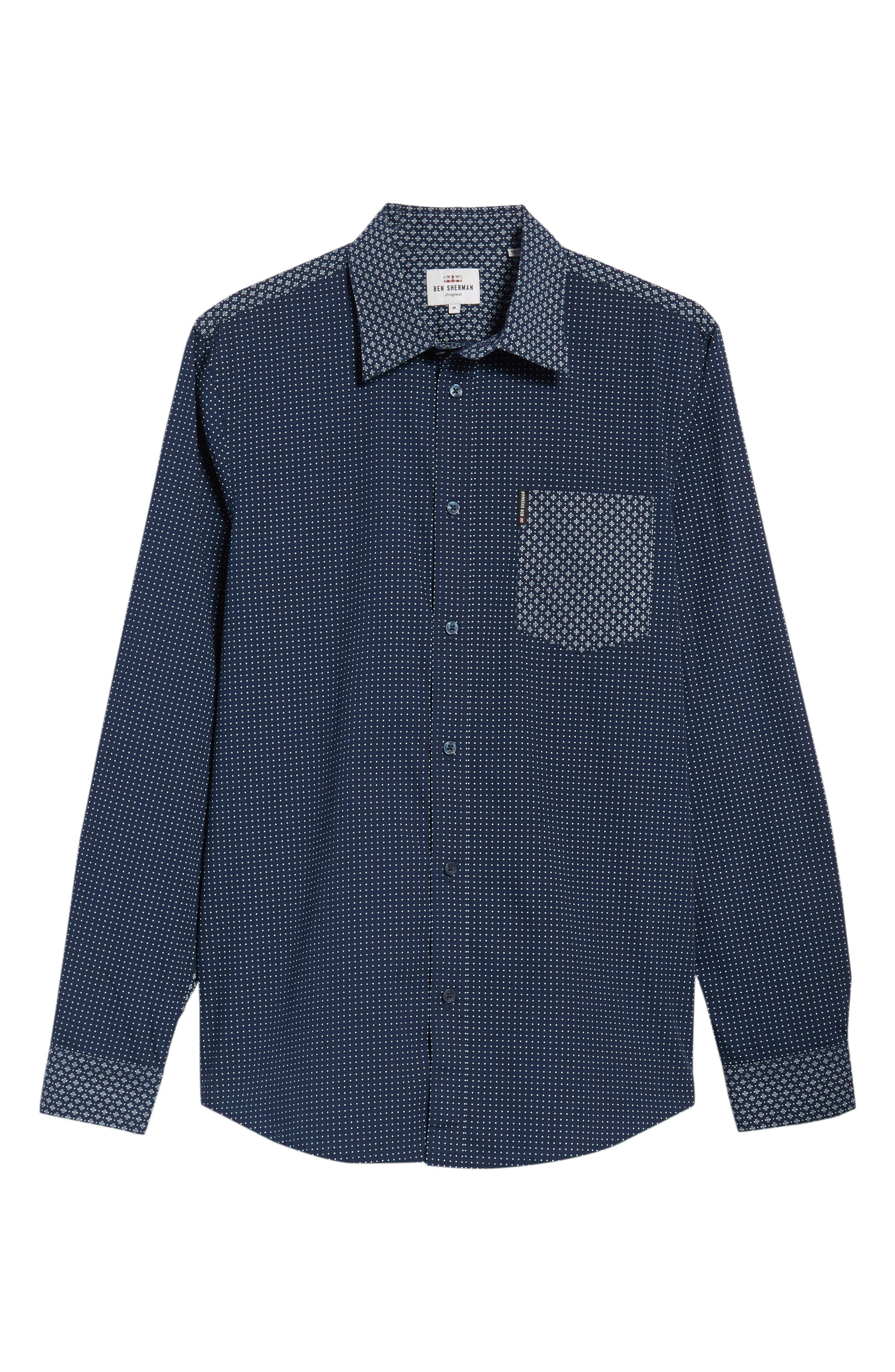 Trim Fit Block Print Sport Shirt,                             Alternate thumbnail 5, color,                             400