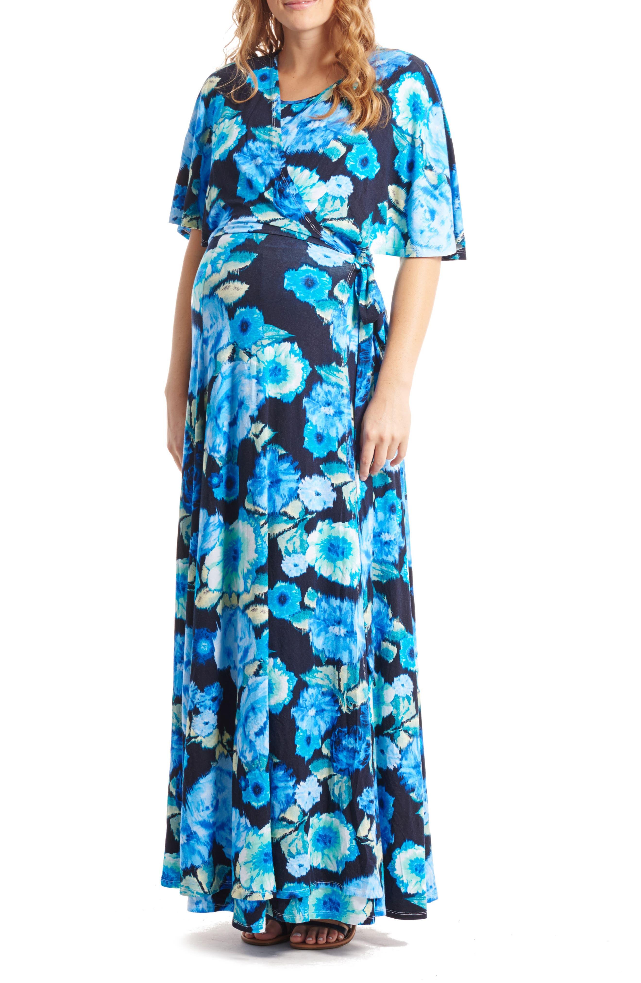 Asa Maternity/Nursing Maxi Wrap Dress,                             Main thumbnail 1, color,                             AQUA ROSE