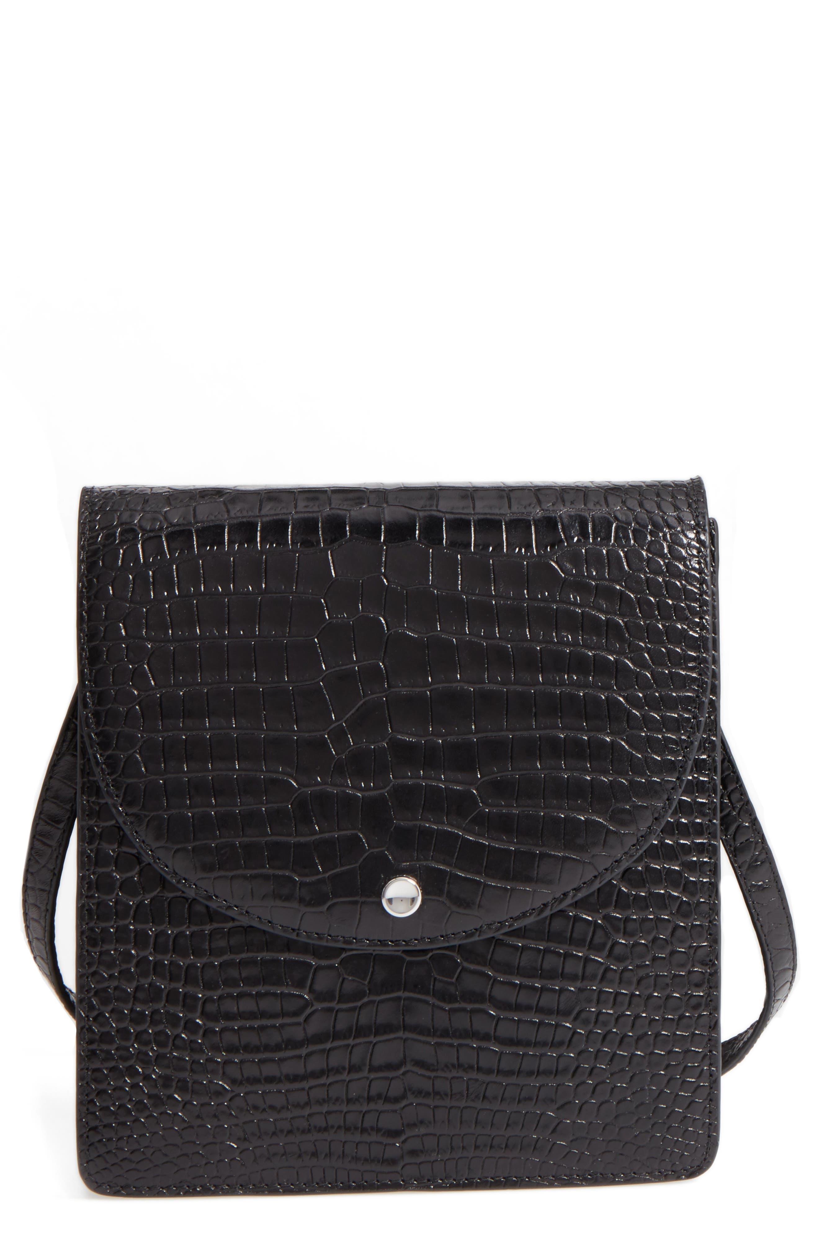 Eloise Leather Crossbody Bag,                             Main thumbnail 1, color,                             001