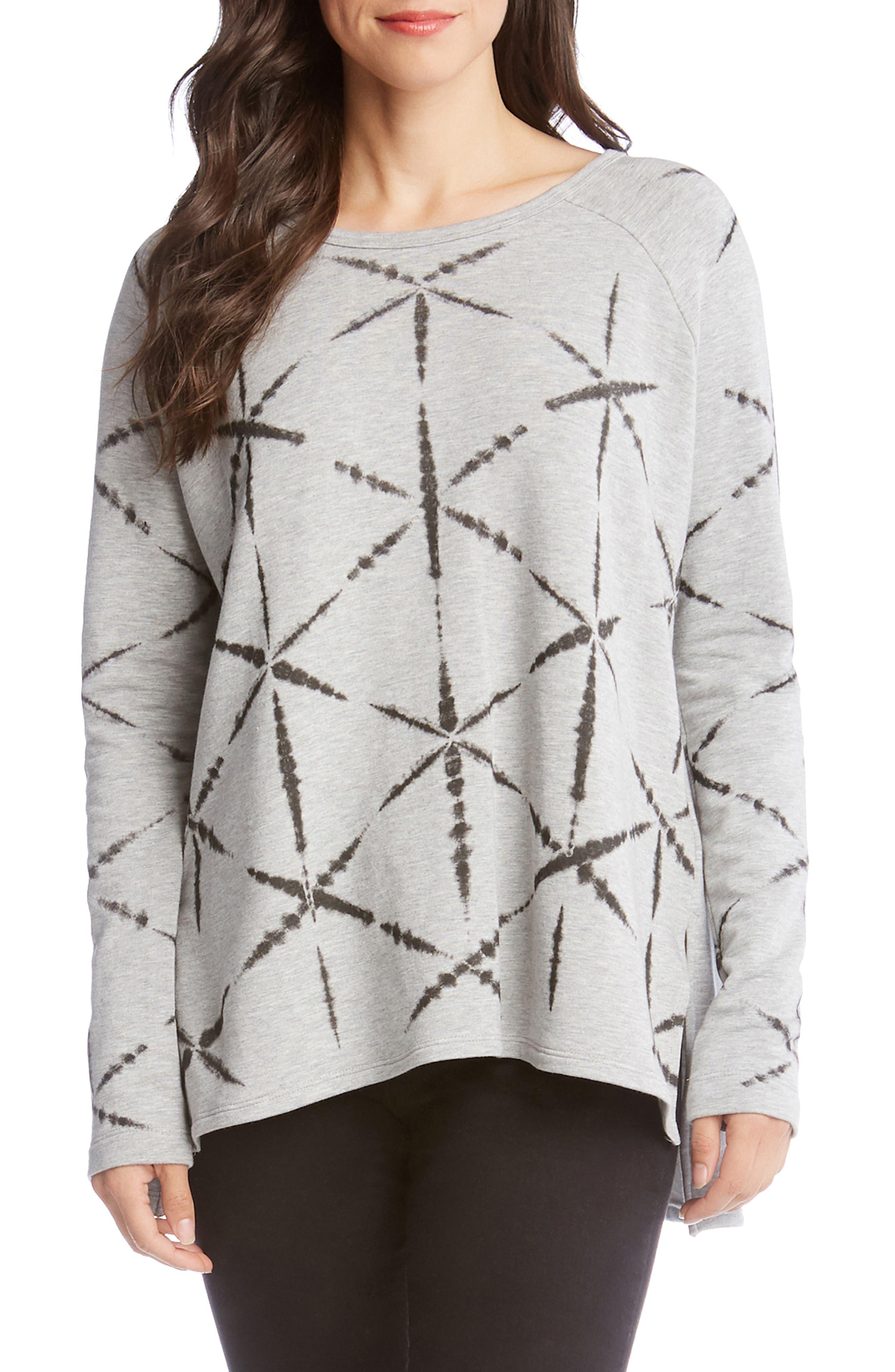 Karen Kane Printed High/low Sweatshirt, Grey